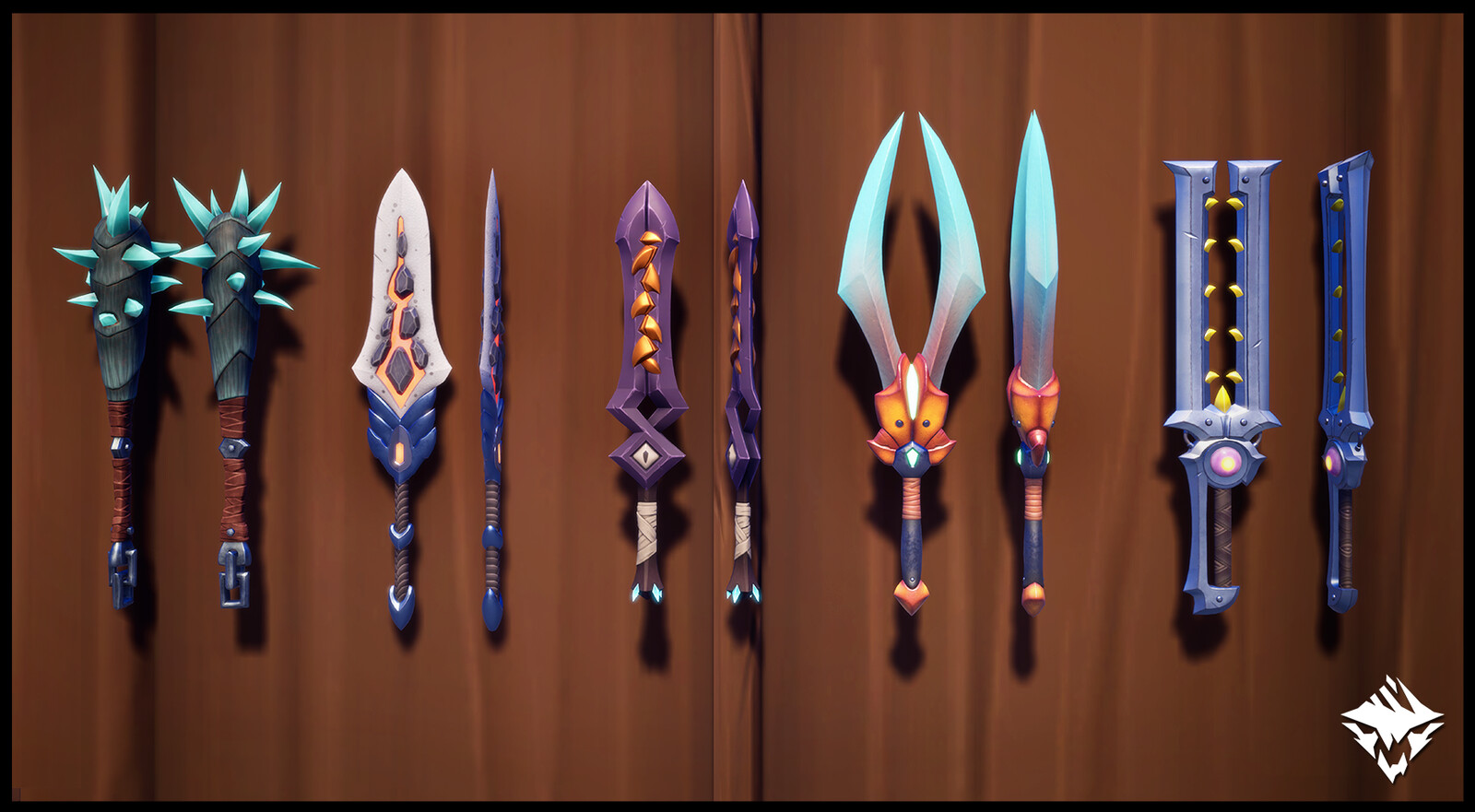 Quillshot's Tusk (Craftable), Charred Saber (Craftable), Hidden Fang (MTX), Kharabak's Spur (Craftable), Nayzaga's Razor (Craftable)