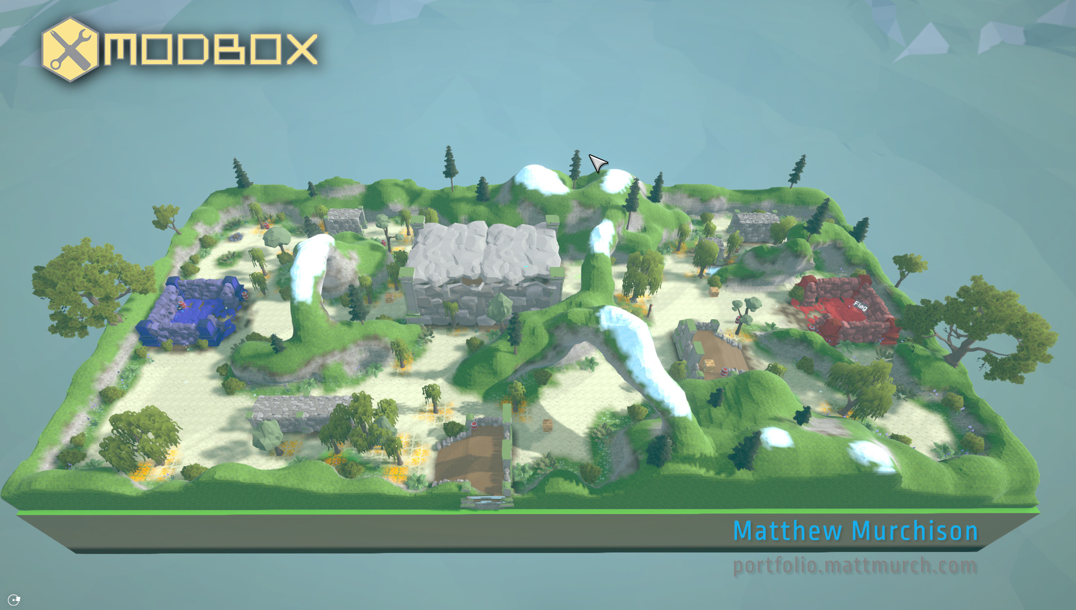 The asymmetrical map uses elevation and path layout to keep gameplay balanced and extremely fun.