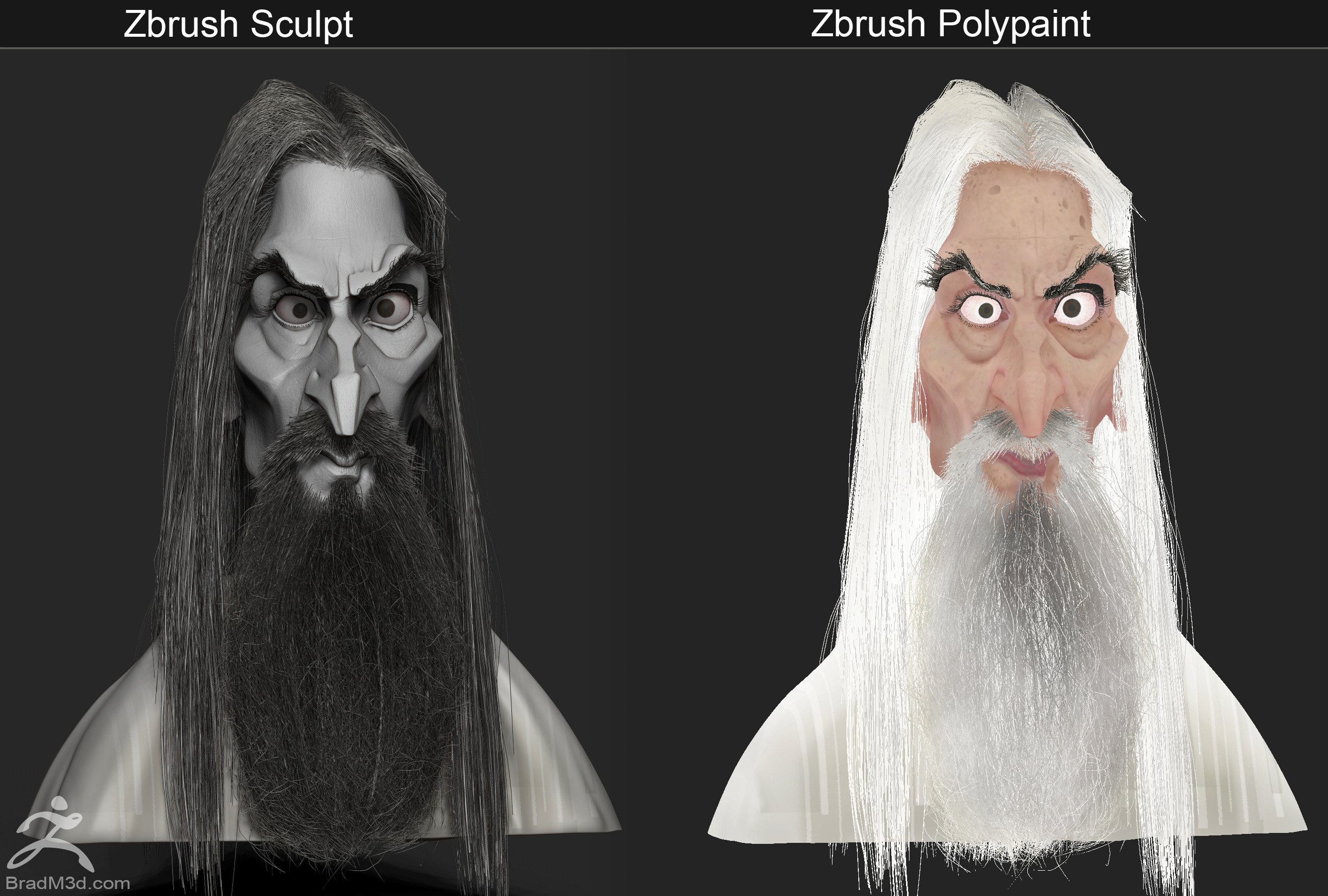 Simple Zbrush Sculpt BPR Render and Flat Shaded polypaint demo