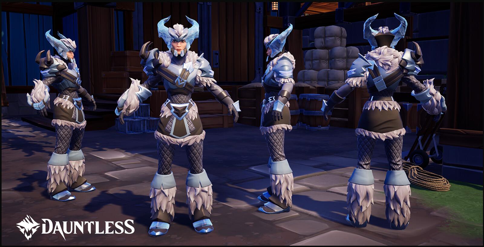 Boreous, Behemoth Craftable Hunt Armor (female version shown).