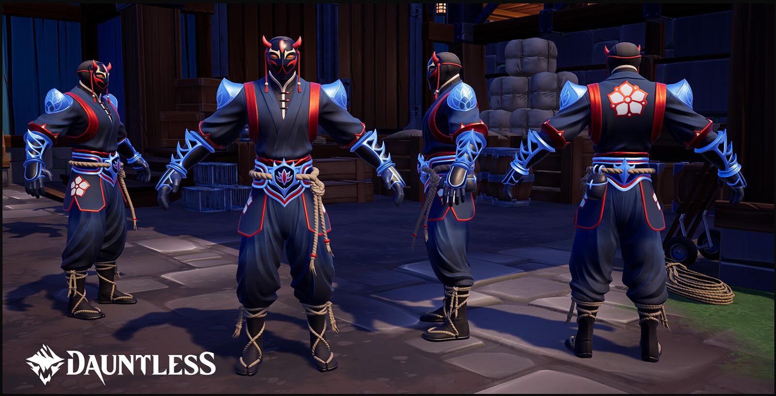 Mask:  Laughging Death, LVL 15 Hunt Pass Reward Armour: Shadow Armor Set, LVL 1 Hunt Pass reward. Both items for the season of Hidden Blades.