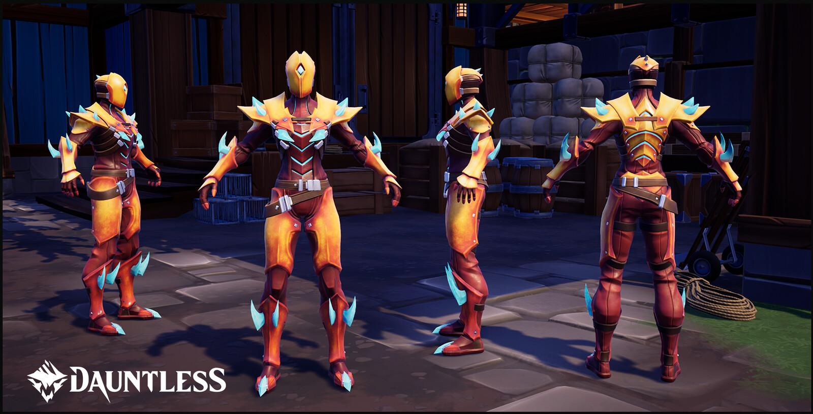 Kharabak, Behemoth Craftable Hunt Armor (female version shown).
