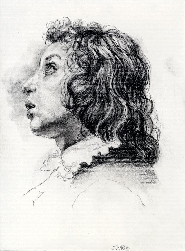 Charcoal, master copy after Carlo Dolci