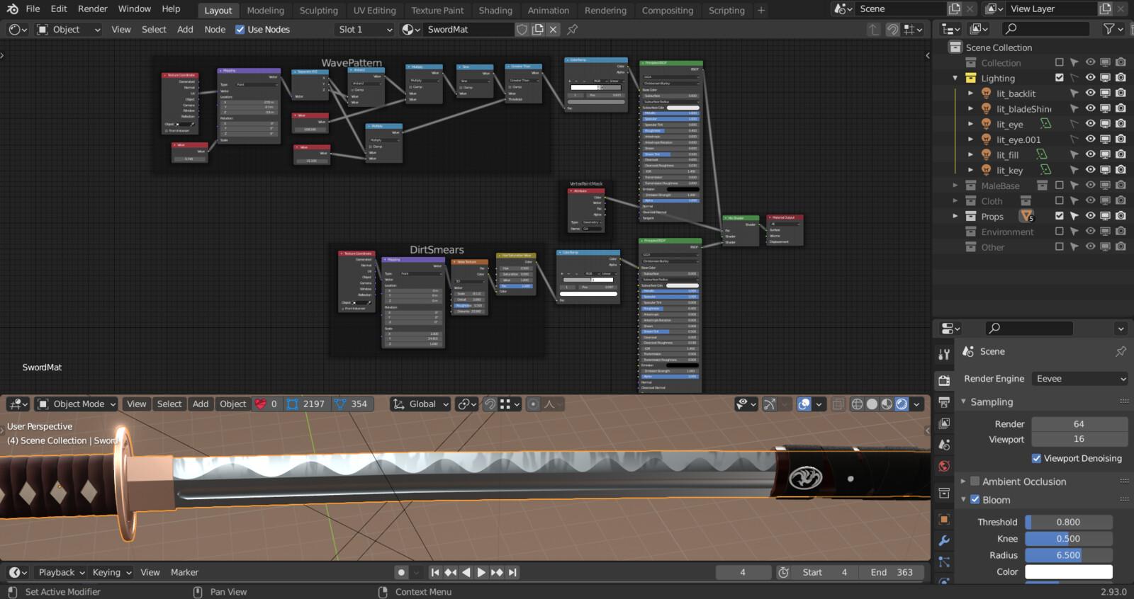 Sword Blade Shader Setup Kept the details simple
