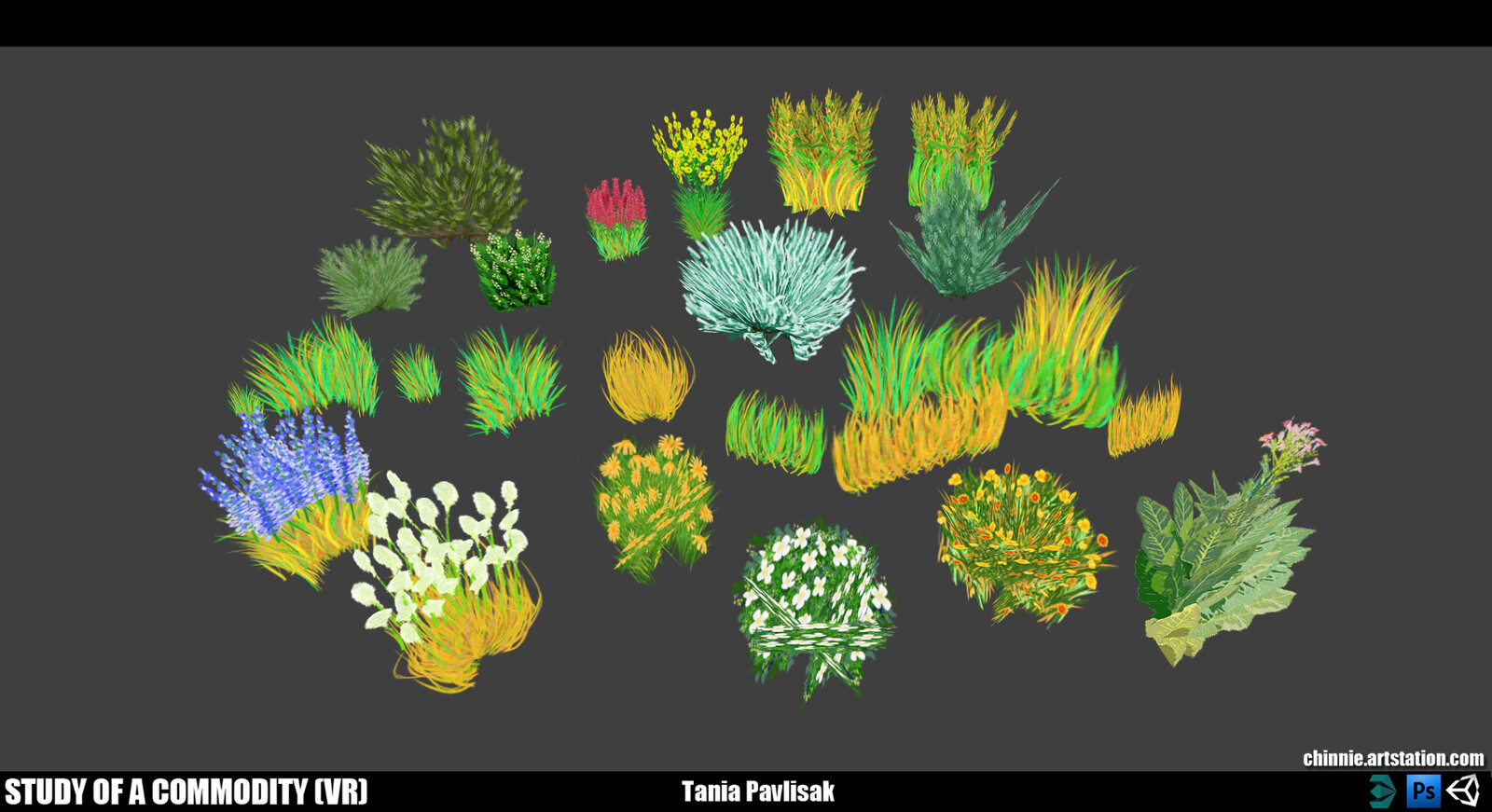 Grass and mountain flower props