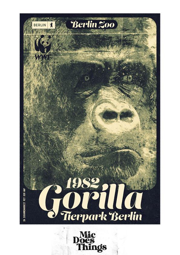 1982 Gorilla at Berlin Zoo - Vintage Poster