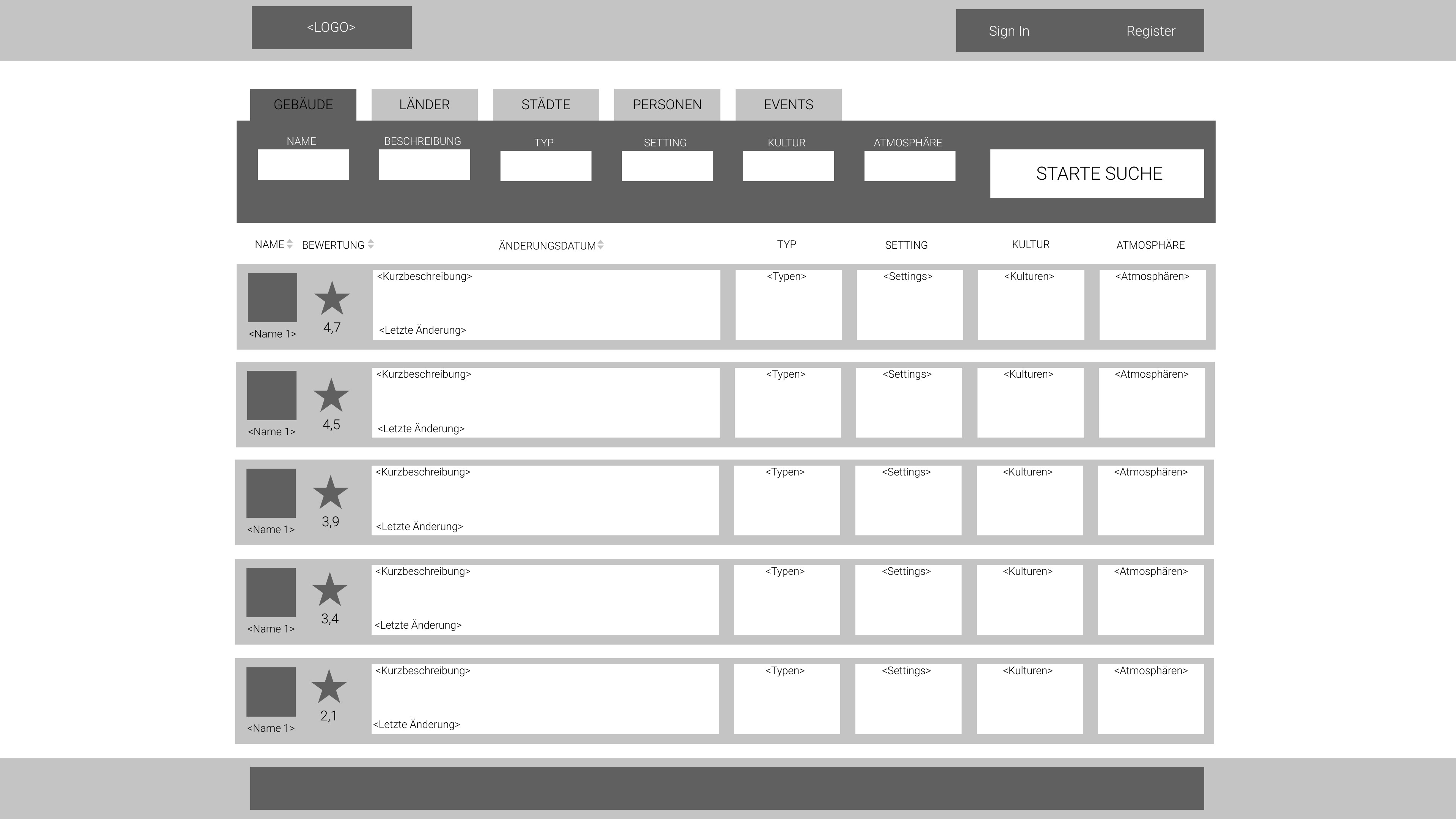 Quick Search - Wireframe