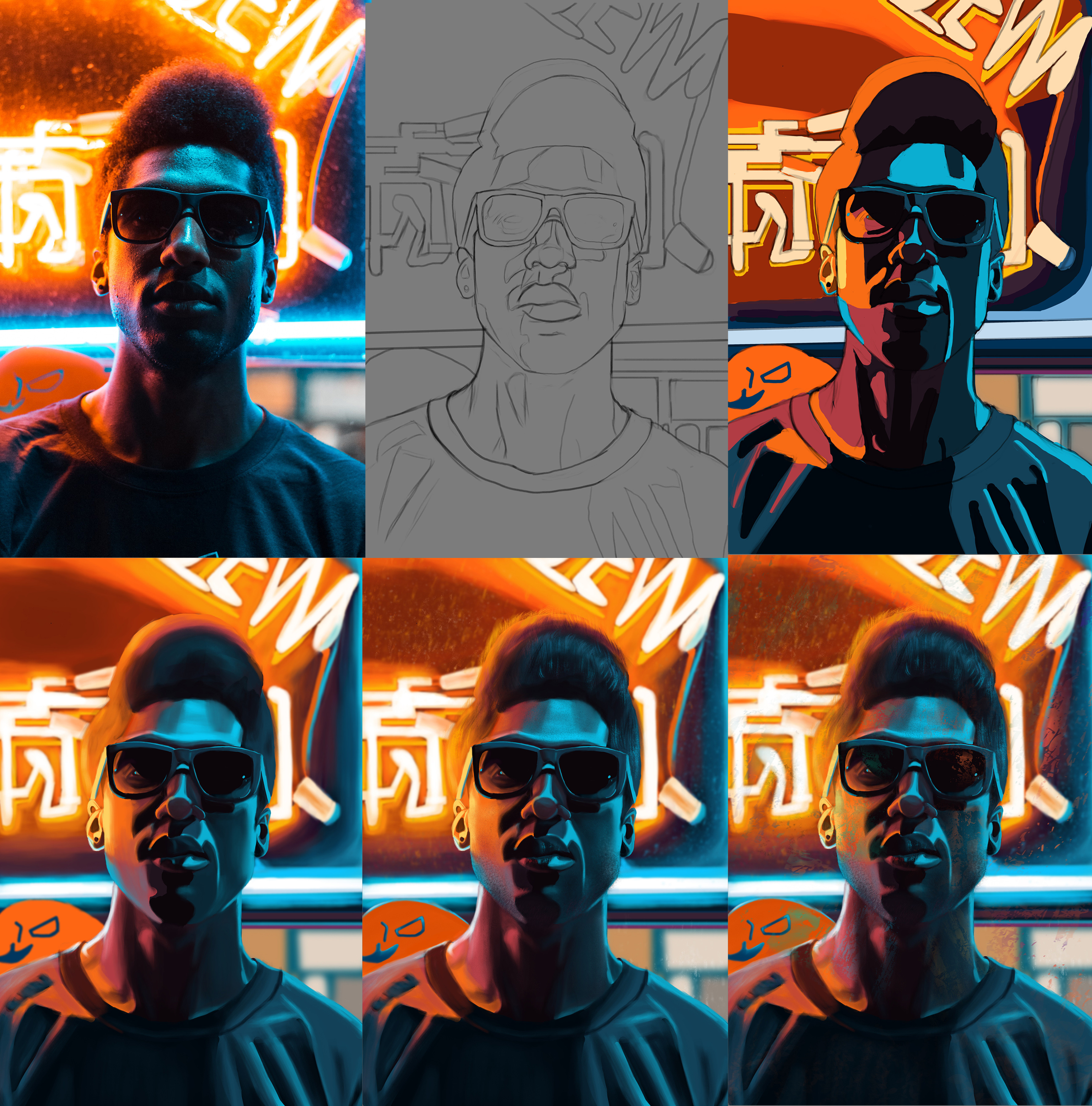 Portrait Process from reference to final