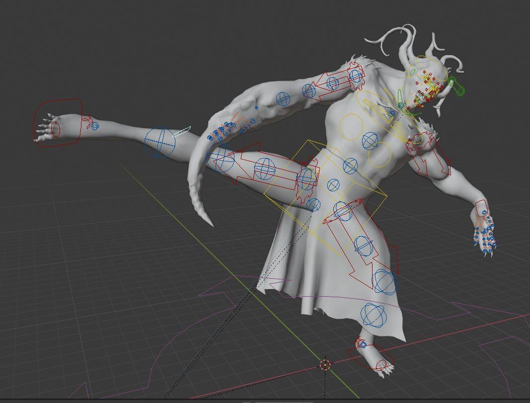 Body rig and soft cloth simulation test.