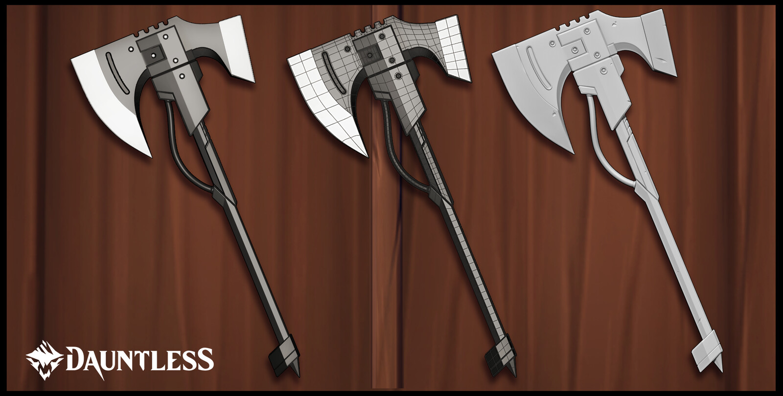 """SM-CX1 """"Splitting Headache"""" Combat Axe.  A sampling of the work I did: Maya shaded, wireframe, and Zbrush.  Floaters used for texturing."""