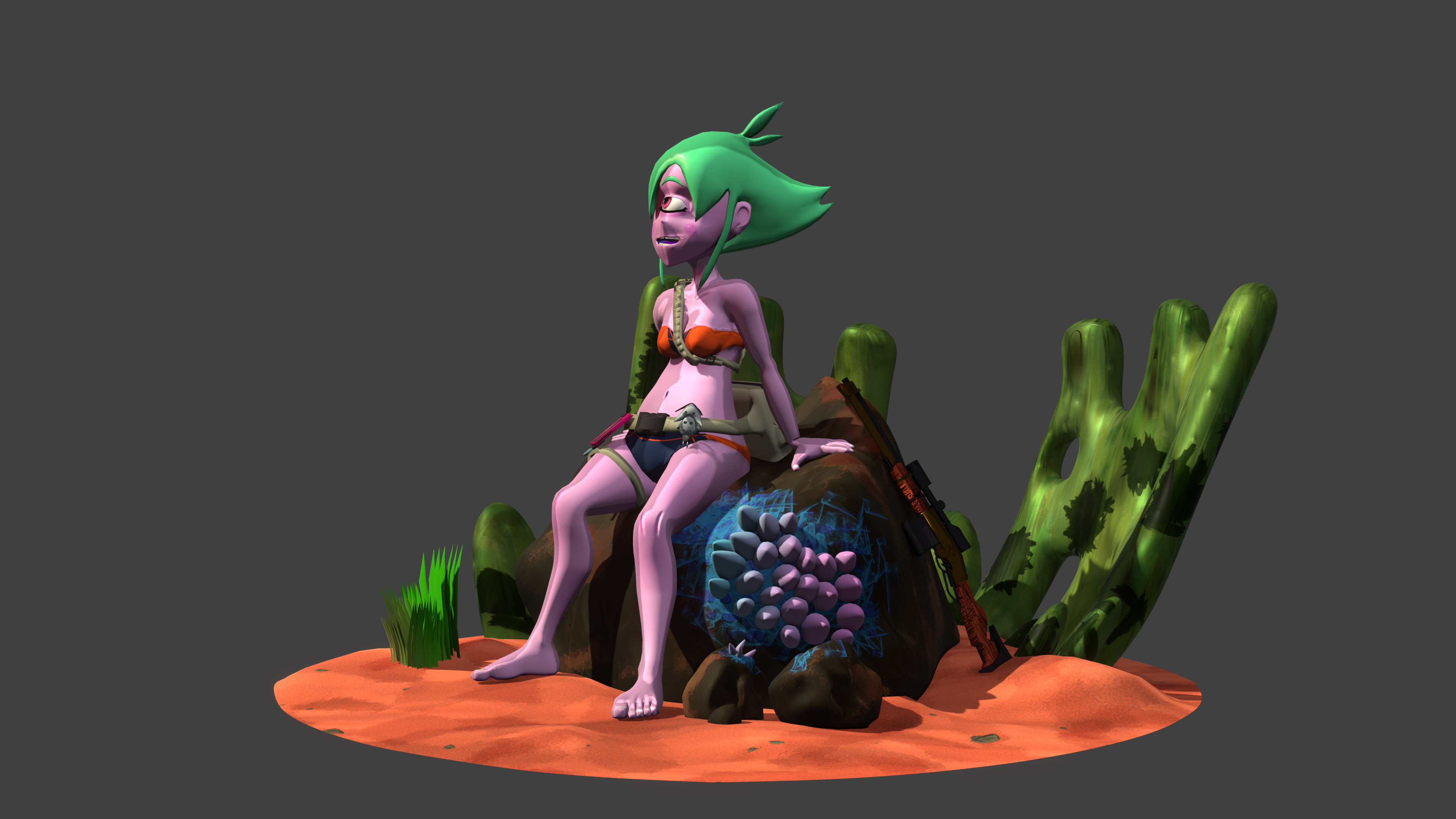 Sitting on an Ayy LMAO rock, with no armor