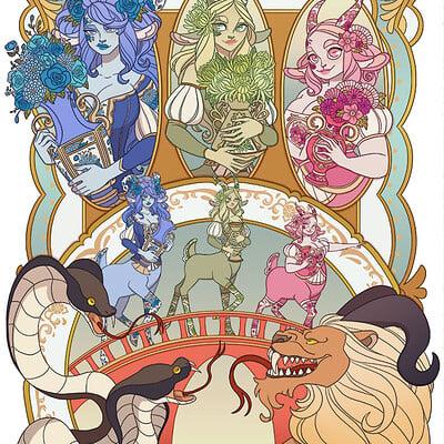 Jessica madorran patreon august 2021 twisted three billy goats gruff illustration artstation