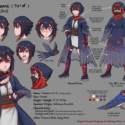 Ian matining tsubame oc character design sheet