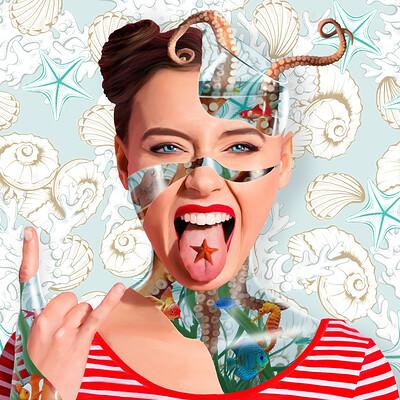 Poveda digital art fishbowl woman especial