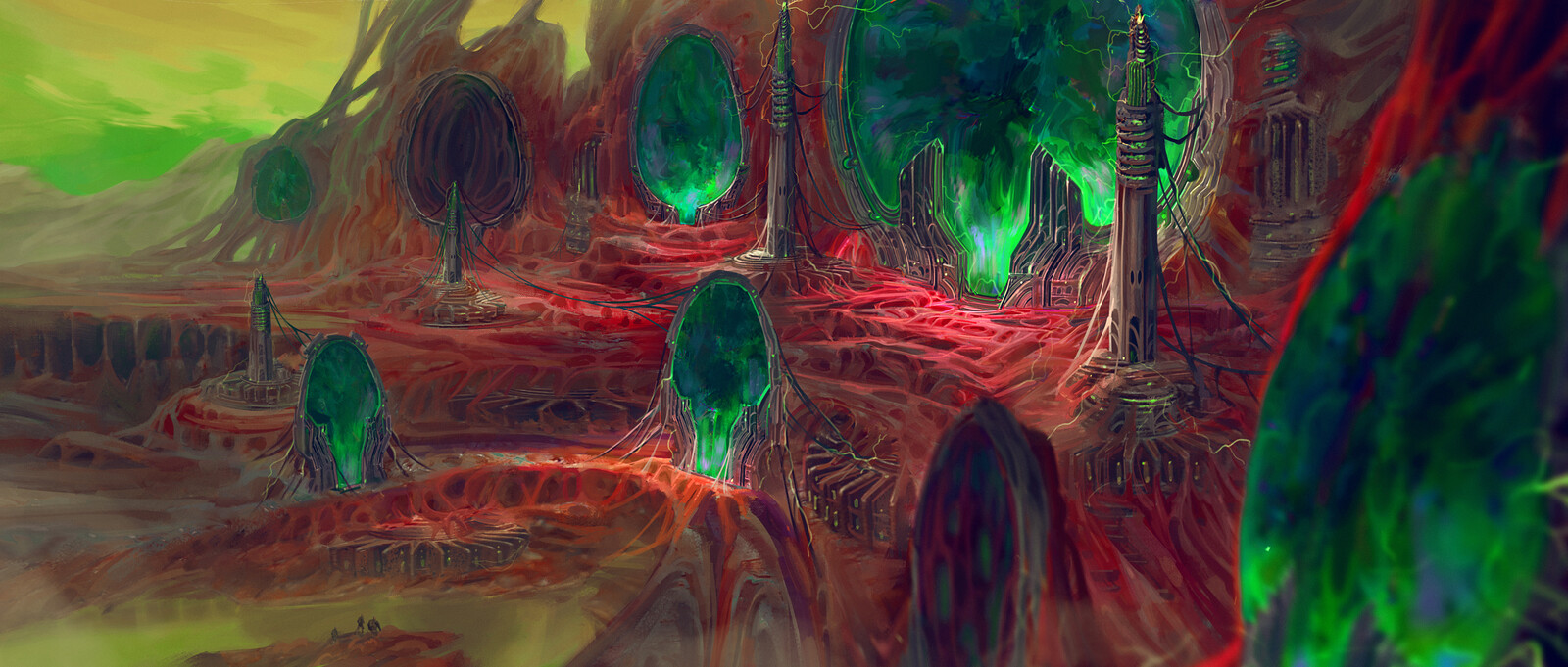 World of Flesh and Machine with Arch Portals