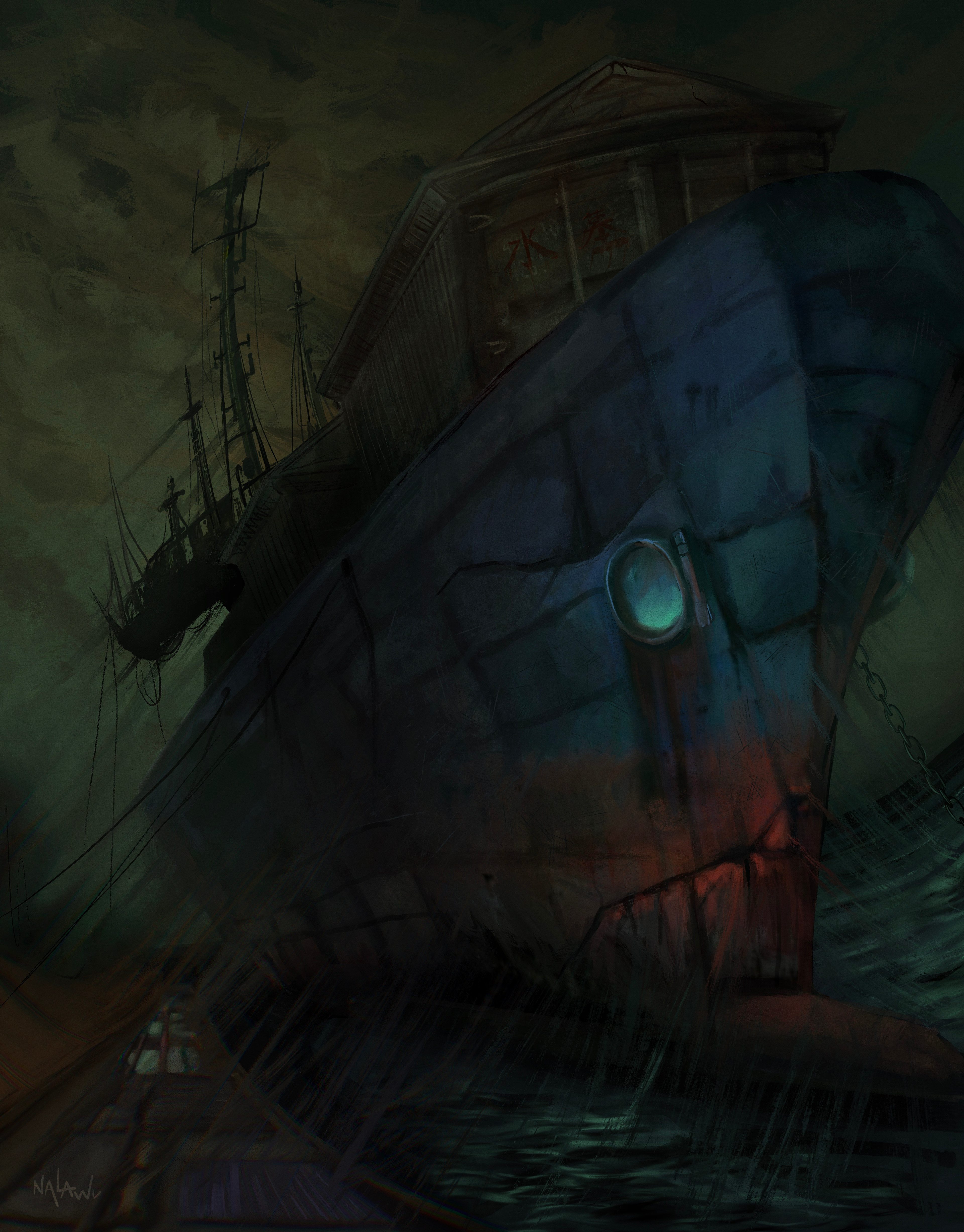 An illustration of an oppressively large container ship that has fallen into disrepair. The ship, silhouetted against a sickly grey-green sky, seems to be sucking in the entire world as it stares down at you through its glowing eye-like porthole.
