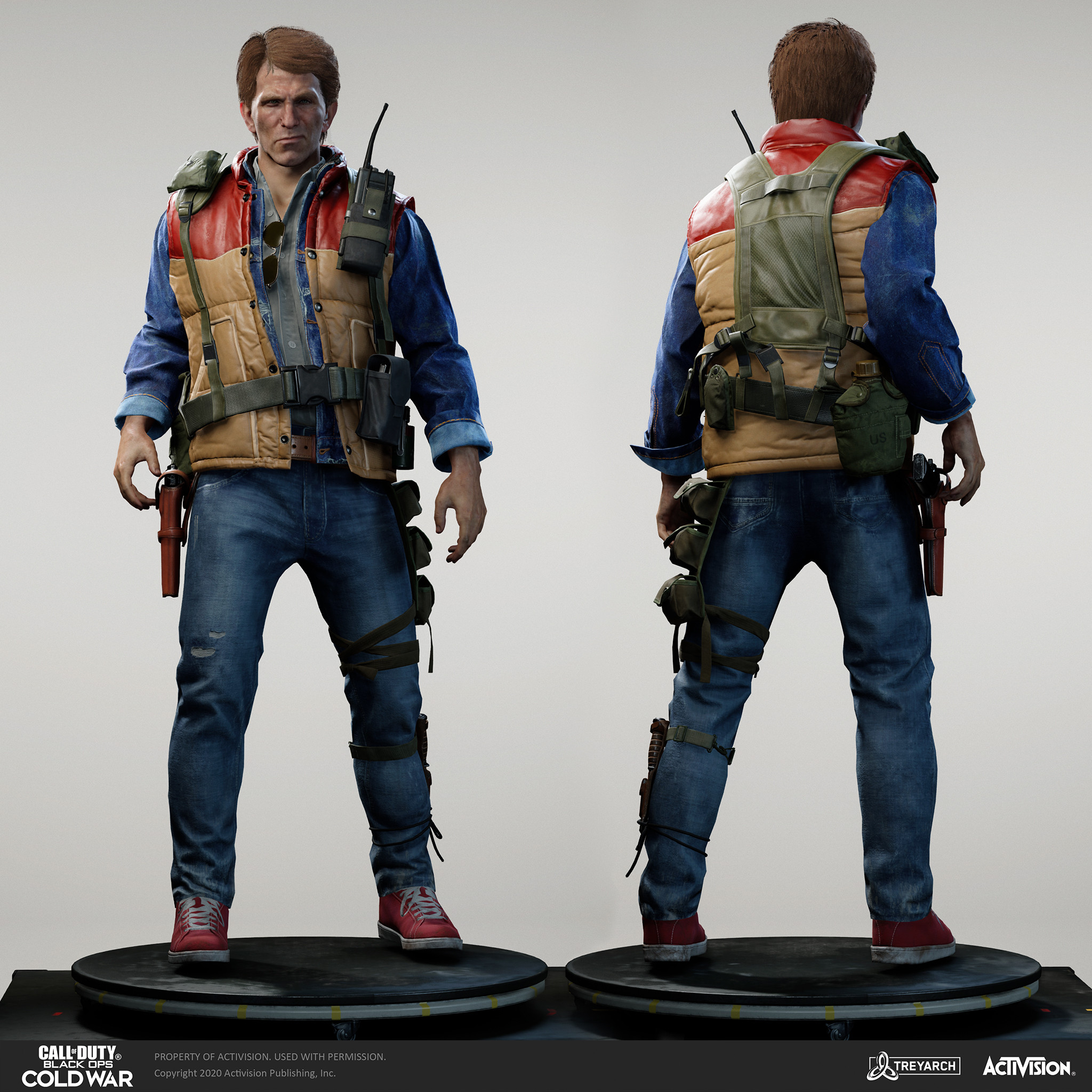 John Baker operator - Brushfire. I was responsible for the design, game mesh assembly, and textures/materials. Individual models/bakes used on the character were created by the Treyarch, SHG, Raven, and OS teams. Head and hair model by Wren Cromwell.