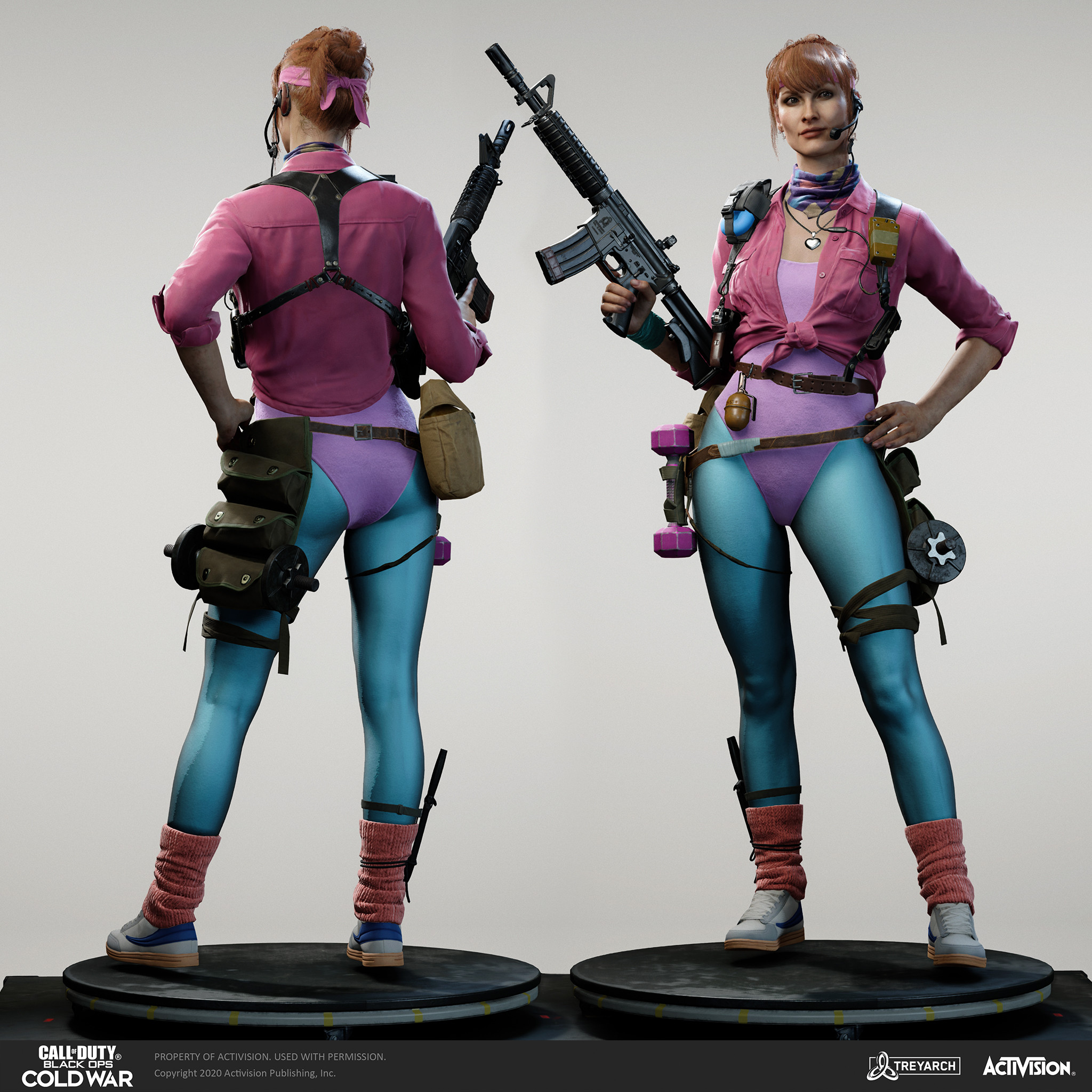 """Yirina Portnova - Fitness Instructor"""" I was responsible for the design, game mesh assembly, and textures/materials. Individual models/bakes used on the character were created by the Treyarch, SHG, Raven, and OS teams. Head and hair model - Wren Cromwell."""