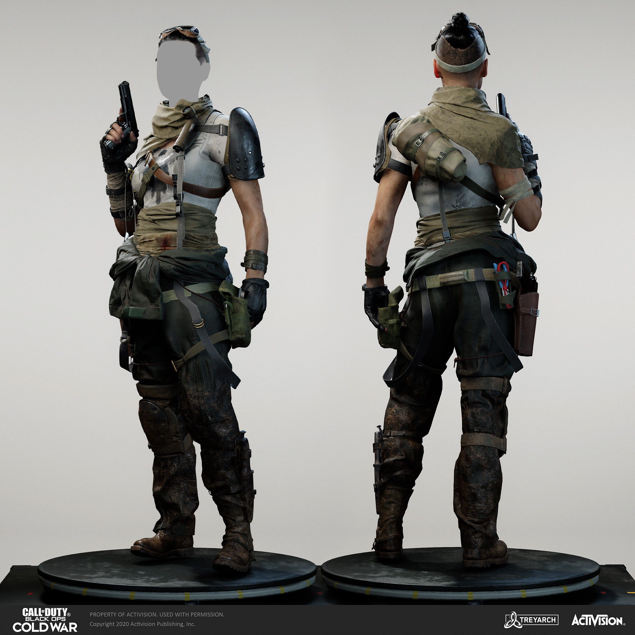 Helen Park - Bounty Hunter. I was responsible for design, model, textures/materials. Individual models/bakes used on the character were created by the Treyarch, SHG, Raven, and OS teams. Head and hair model by Outsource  team, Scott Wells, Wren Cromwell.