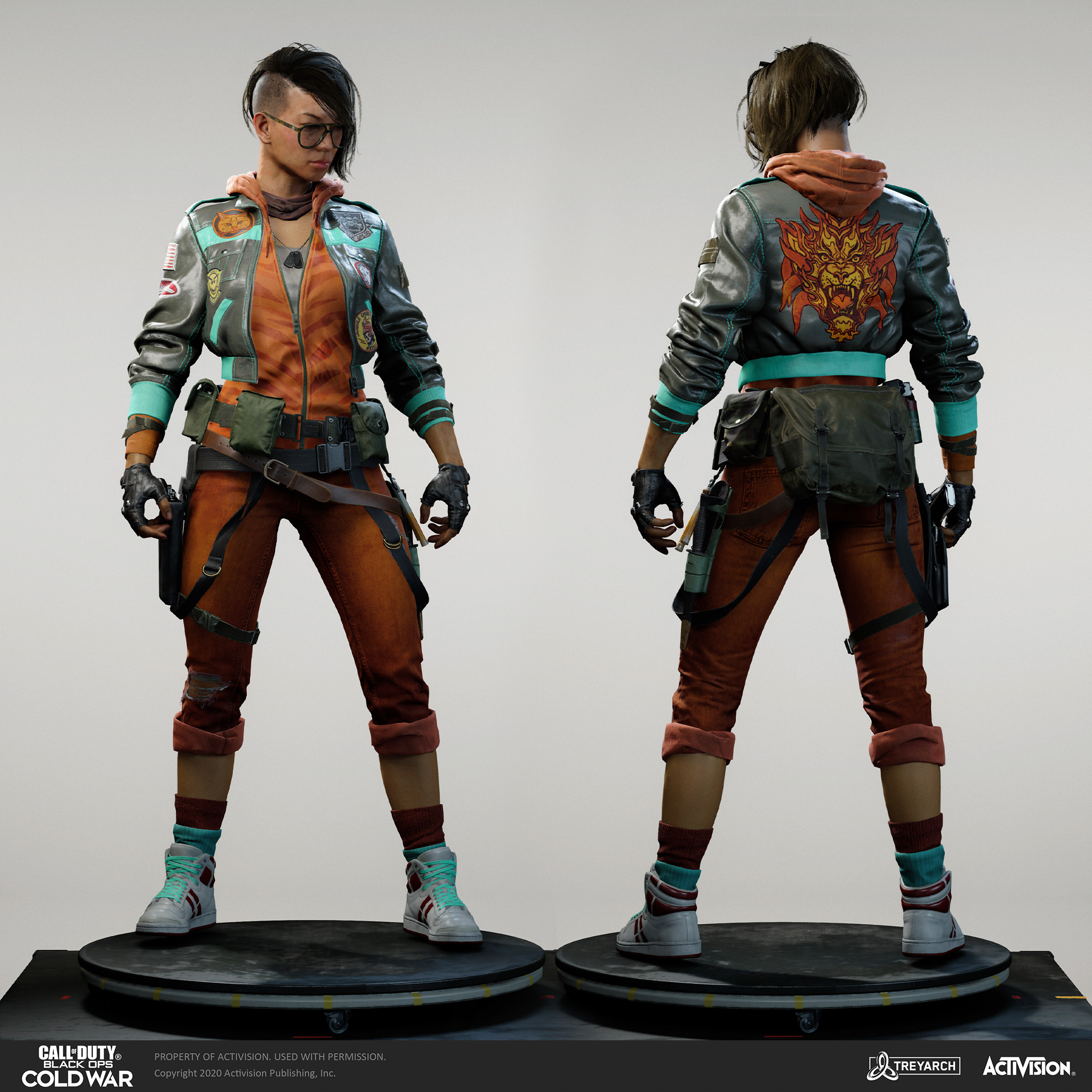 Kwan Song - Tigress. I was responsible for design, mesh assembly, and textures/materials. Individual models/bakes used on the character were created by the Treyarch, SHG, Raven, and OS teams. Head and hair model by head team - Scott Wells, Wren Cromwell.