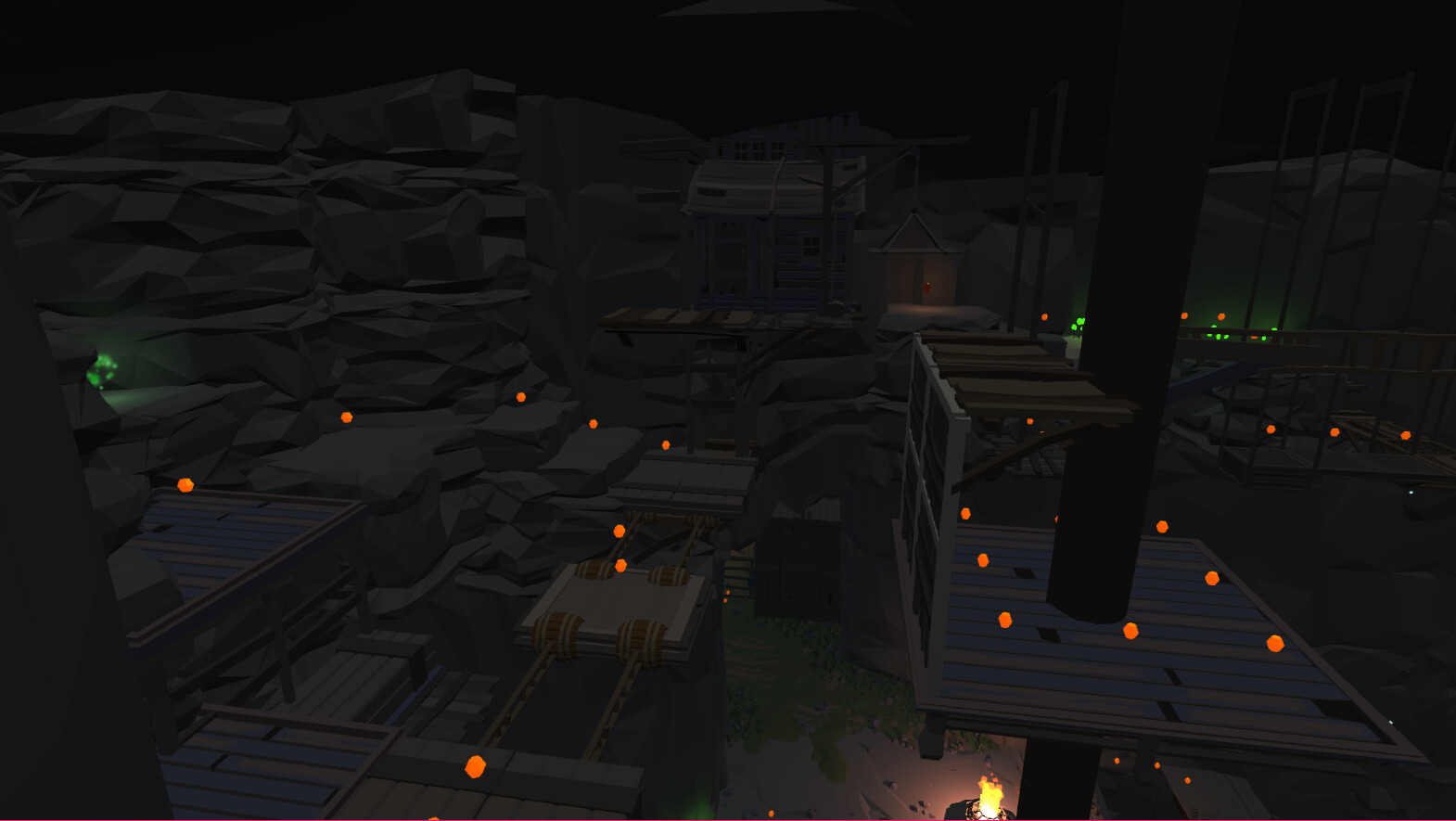 A puzzle section in the upper portion of the mines. The player needs to overcome some jump challenges to get all of the collectibles.