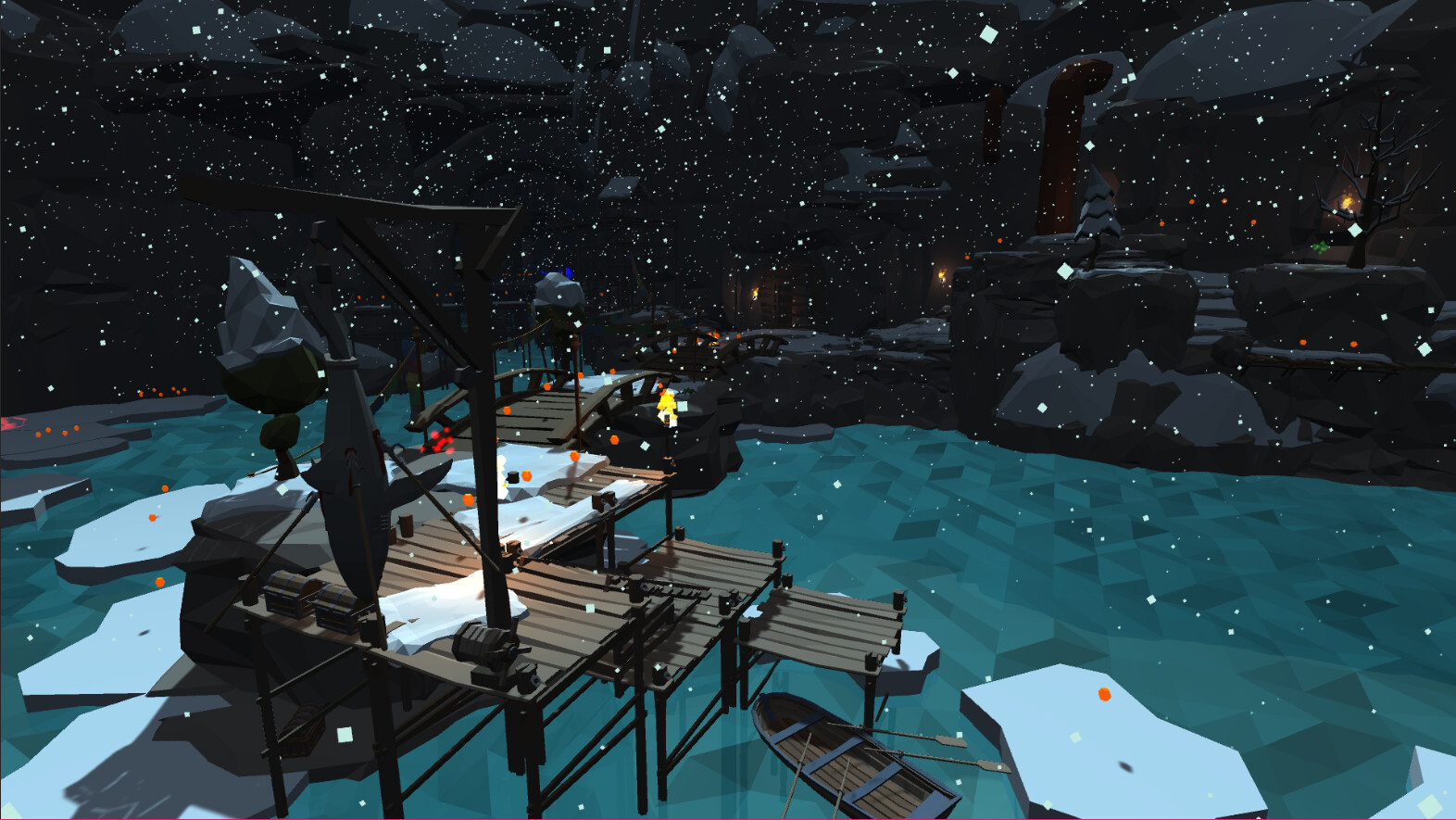 The docks in the opening section of the level where the player spawns. Once the player has recovered the crystal cores they return here to complete the game.