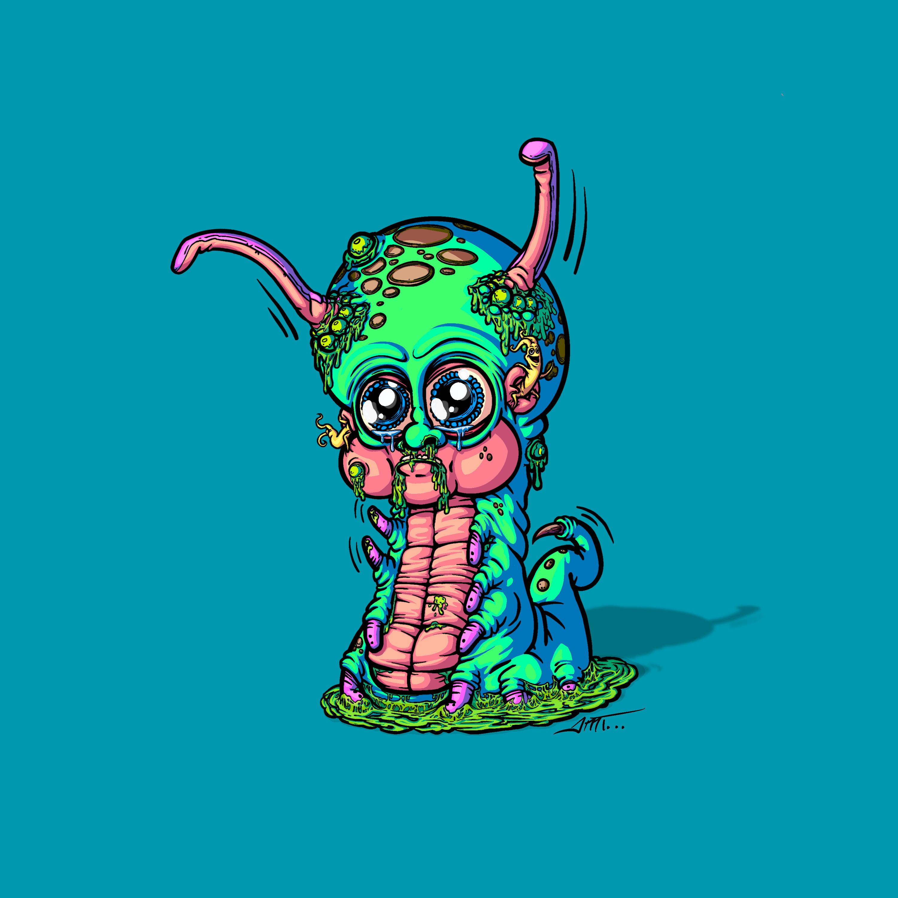Caterbebe'n'Squirm: Lil gross caterbebe and his wormy parasite friend.