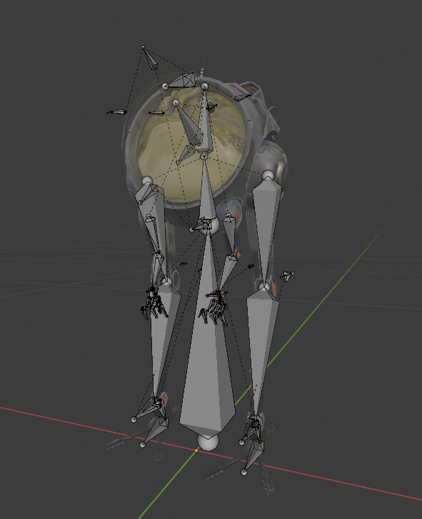 Blender rig in edit view, showing all used joints in this rig.