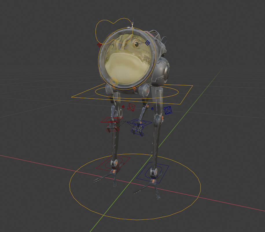Space toad rig in pose mode in Blender 2.9