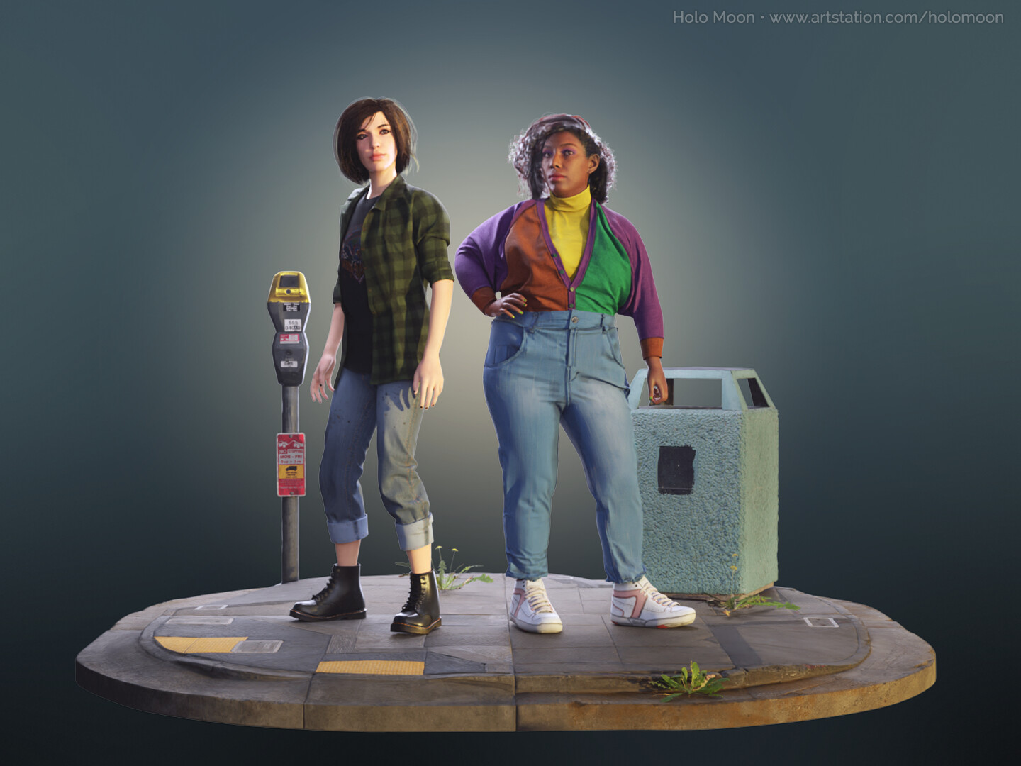 Edie (left) and Melissa (right) Characters created for the Project Boombox cinematic. Props from Megascans