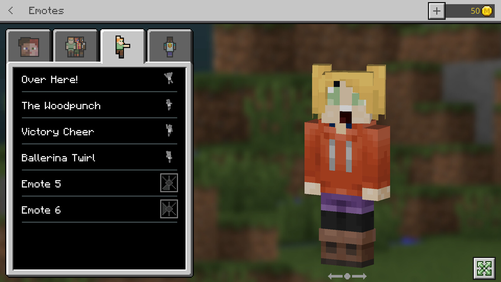 examples of assets contributed to the Minecraft Character Creator