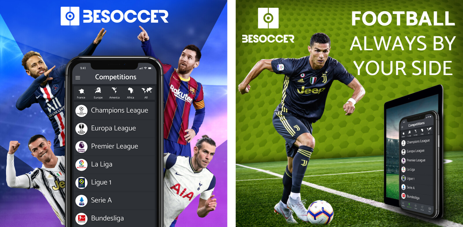 Static ads for Besoccer, a football app gathering match results and informations