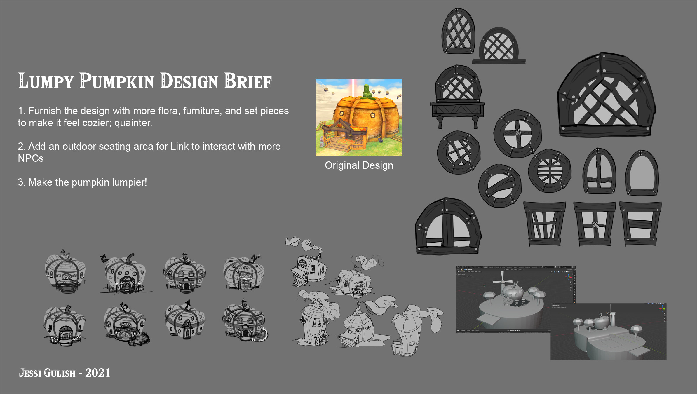 Design brief, thumbnails, sketches, and 3D model made for paintover