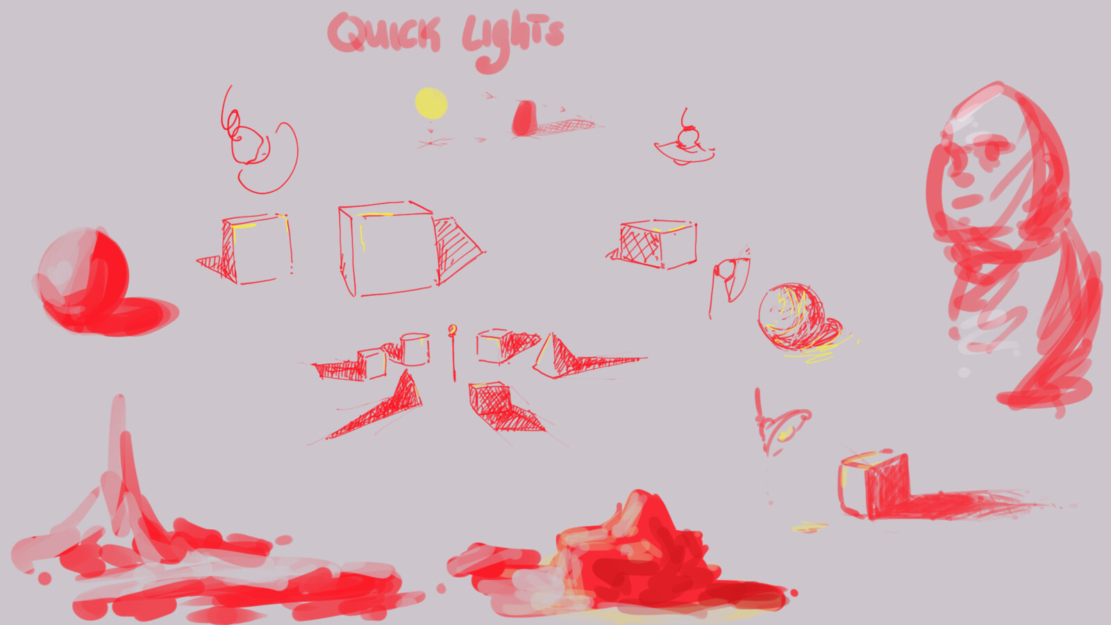 Quick sketch about some lights/lighting, to practice and to demonstrate some concepts to a friend.