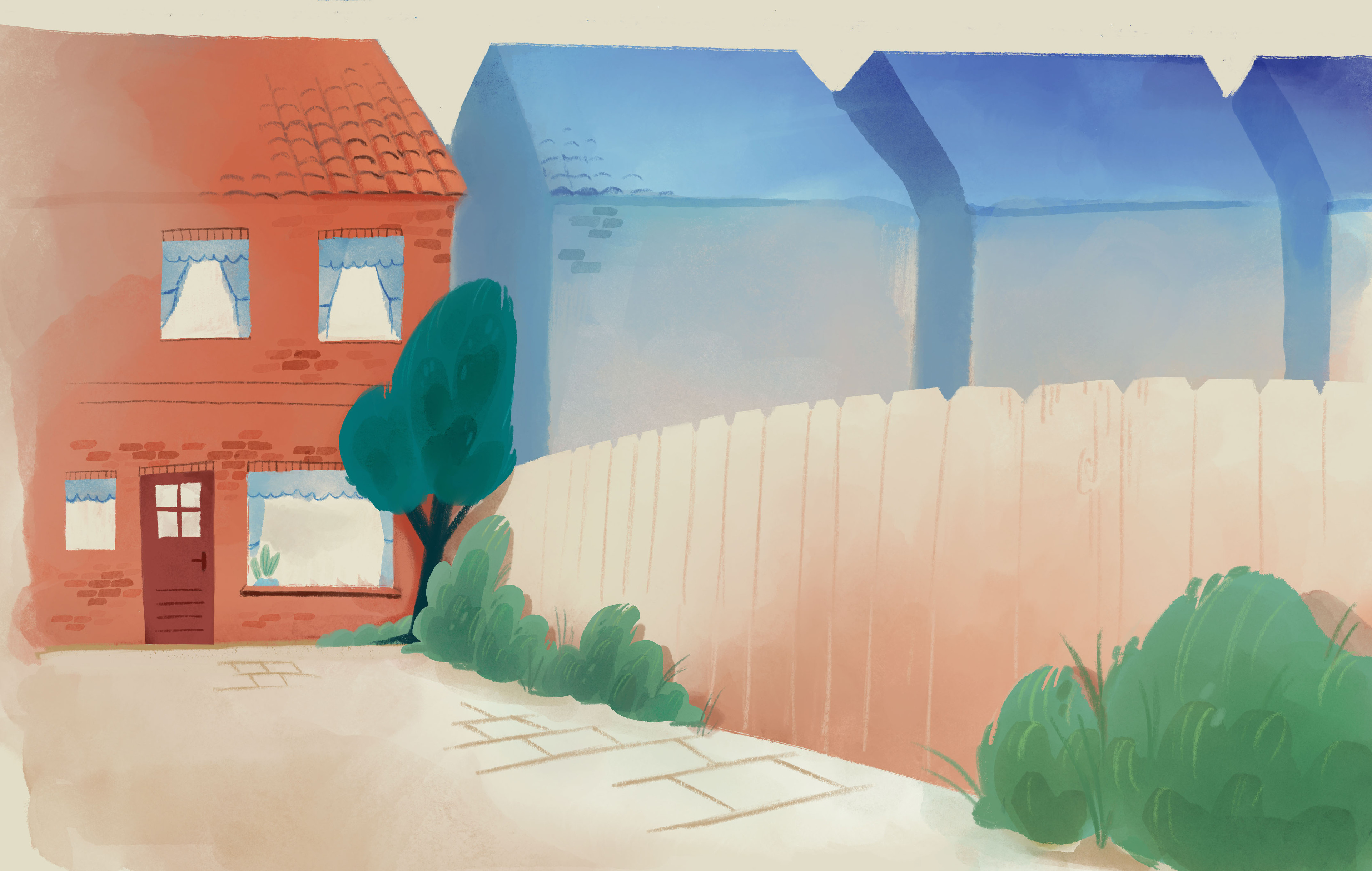 Background painting, I exported the layout from Storyboard Pro and painted it in Procreate and Photoshop