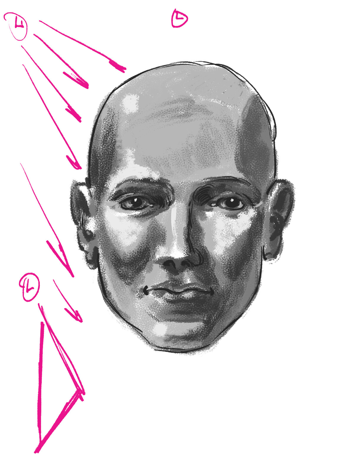 Project 8: Repeat project 7 and apply 3D values to the male and female heads. Use one light source.