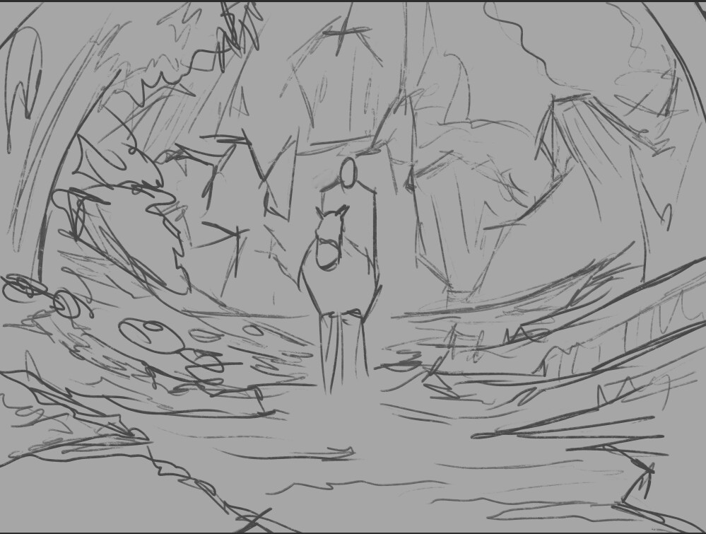 Very rough sketch for shape blocking