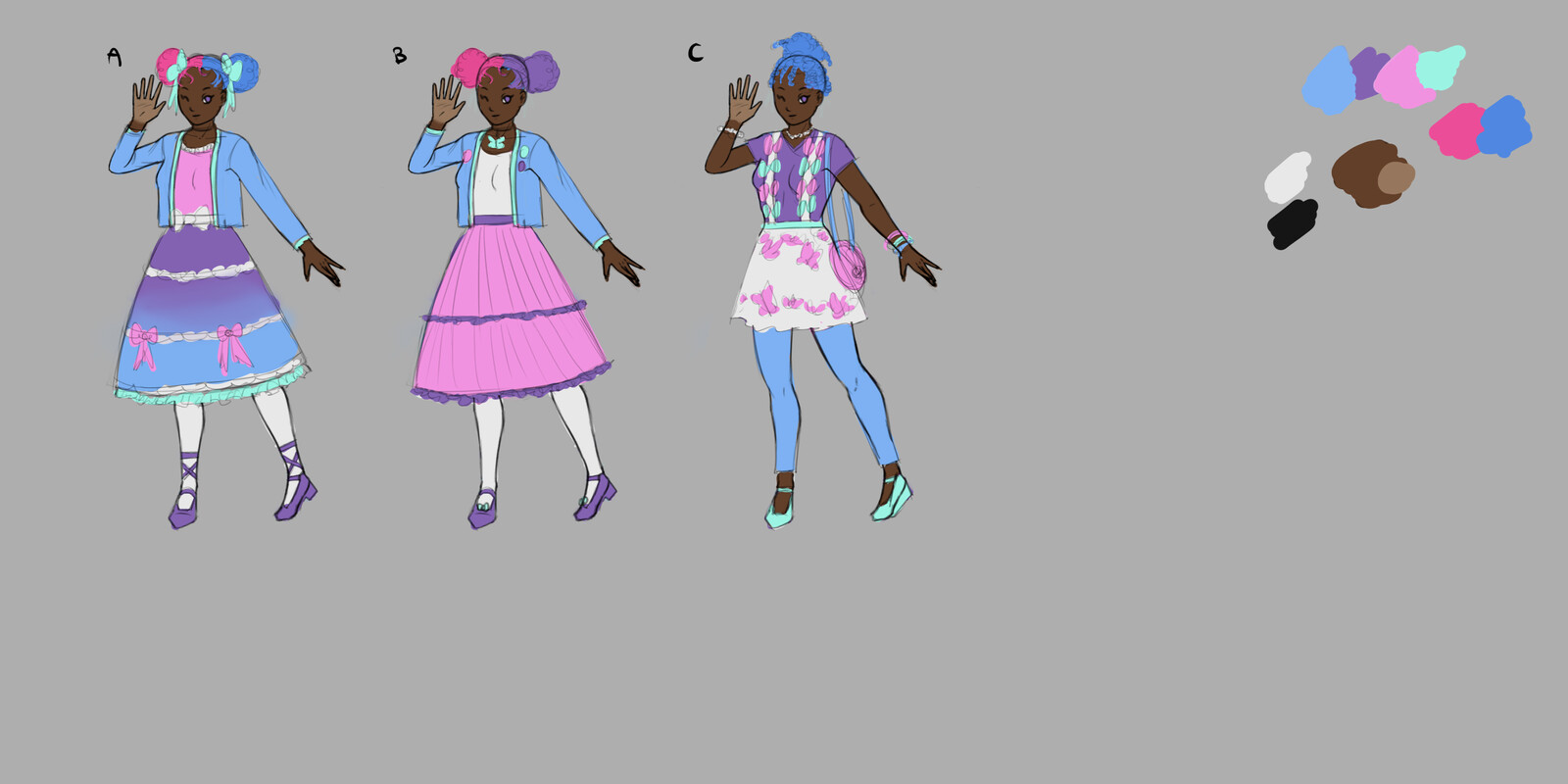 Second pass - narrowing down outfit, with color placement