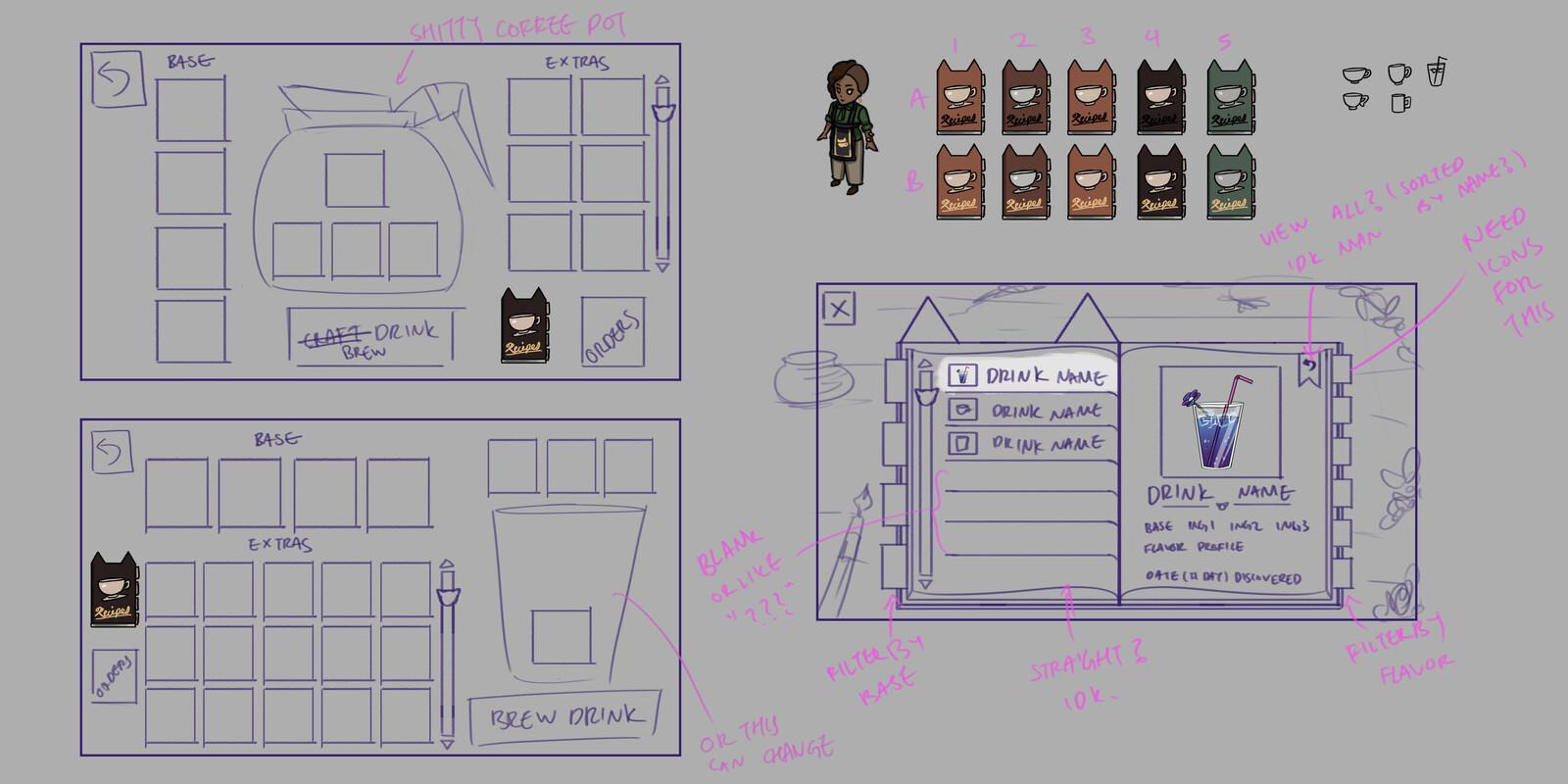Crafting screen mockup/layout sketches, and Recipe screen mockup/layout.  Recipe button color variants.
