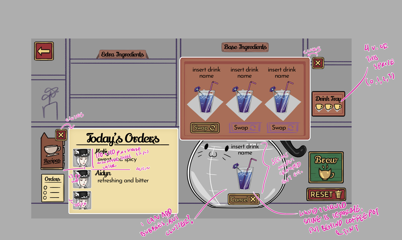 Crafting screen layout with implementation instructions and created assets (minus background)