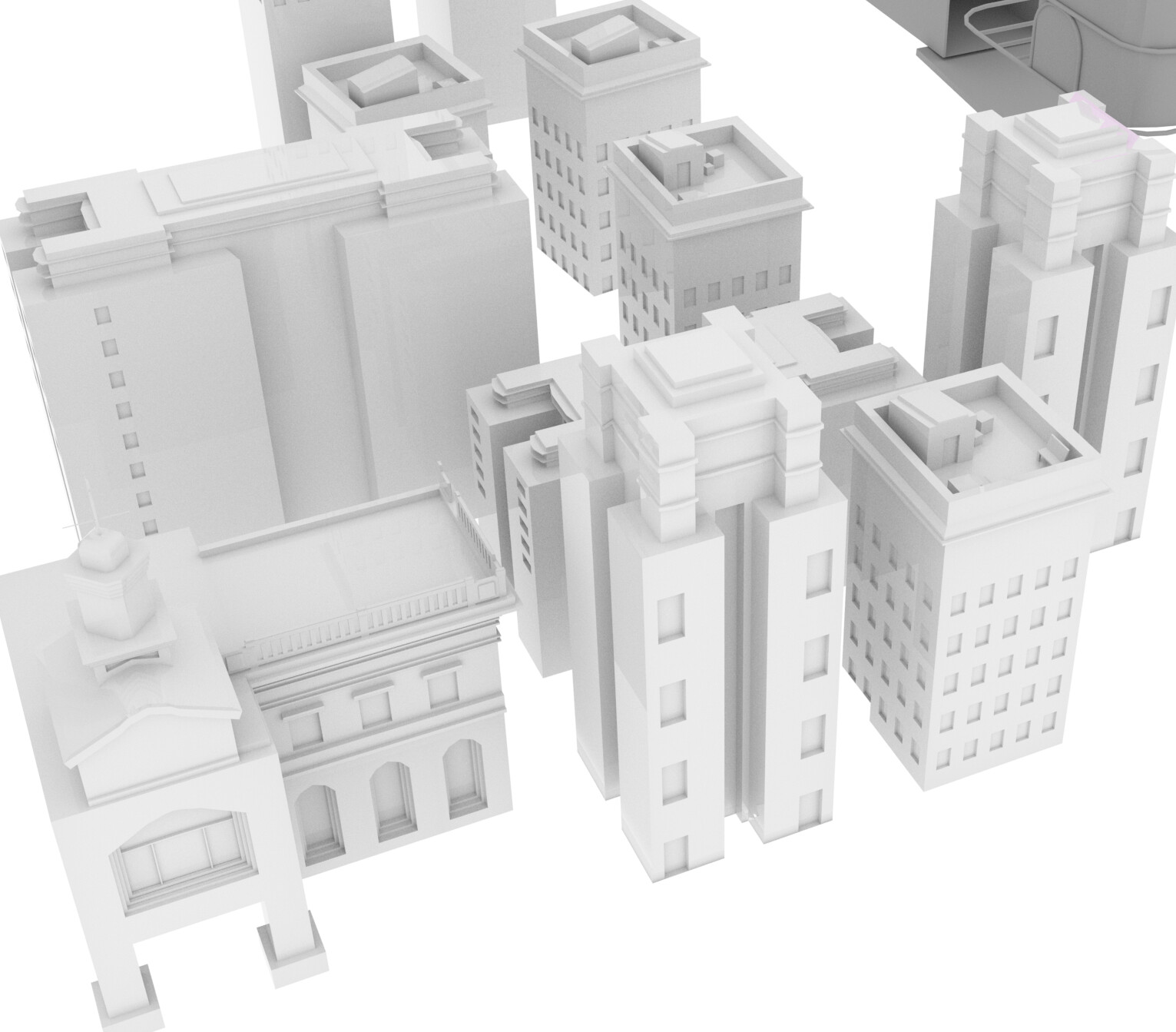 Some 3D buildings for the pipe in the jaw.