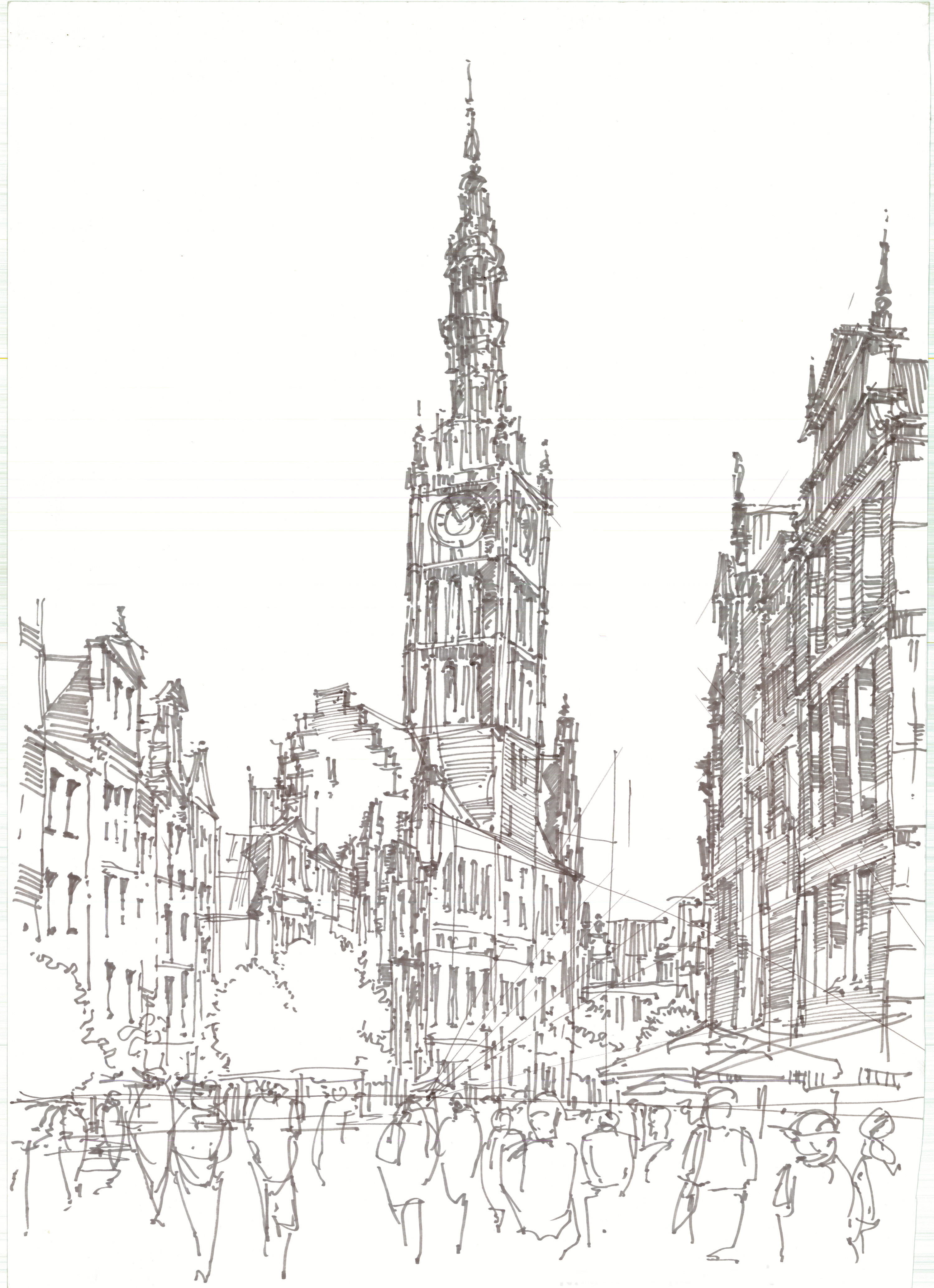 Gdańsk - Copic marker drawing 50x70cm (20x28in)