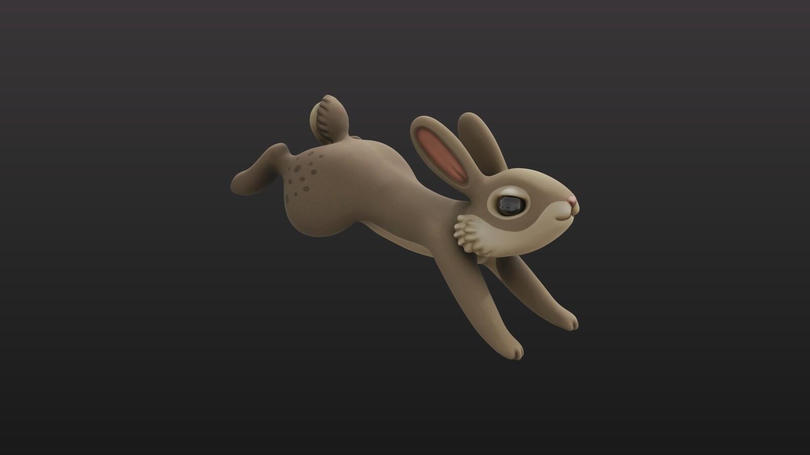 Handpainted Jumping Rabbit