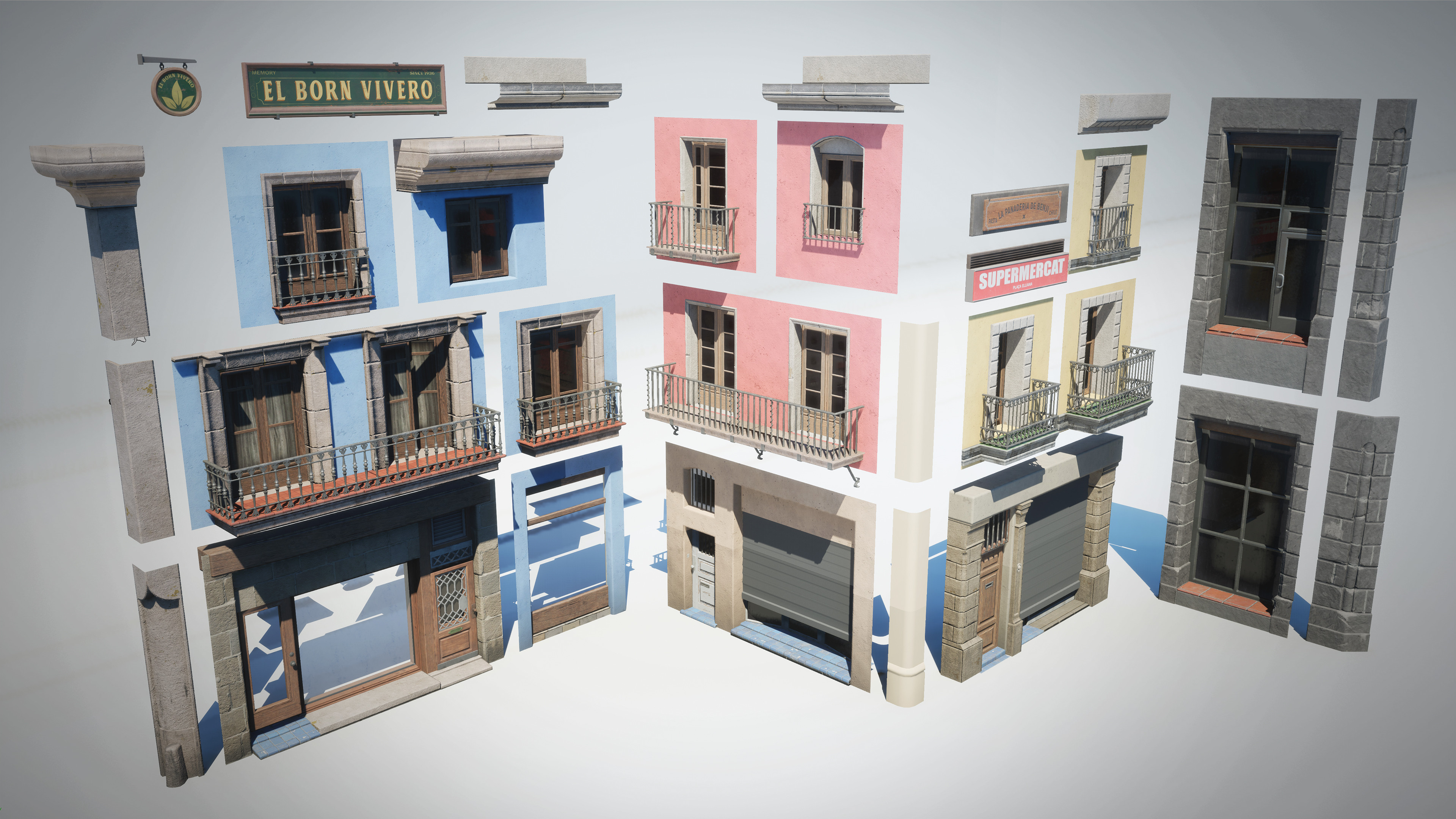 Modular pieces, materials can be freely swapped between them to create new buildings easily.