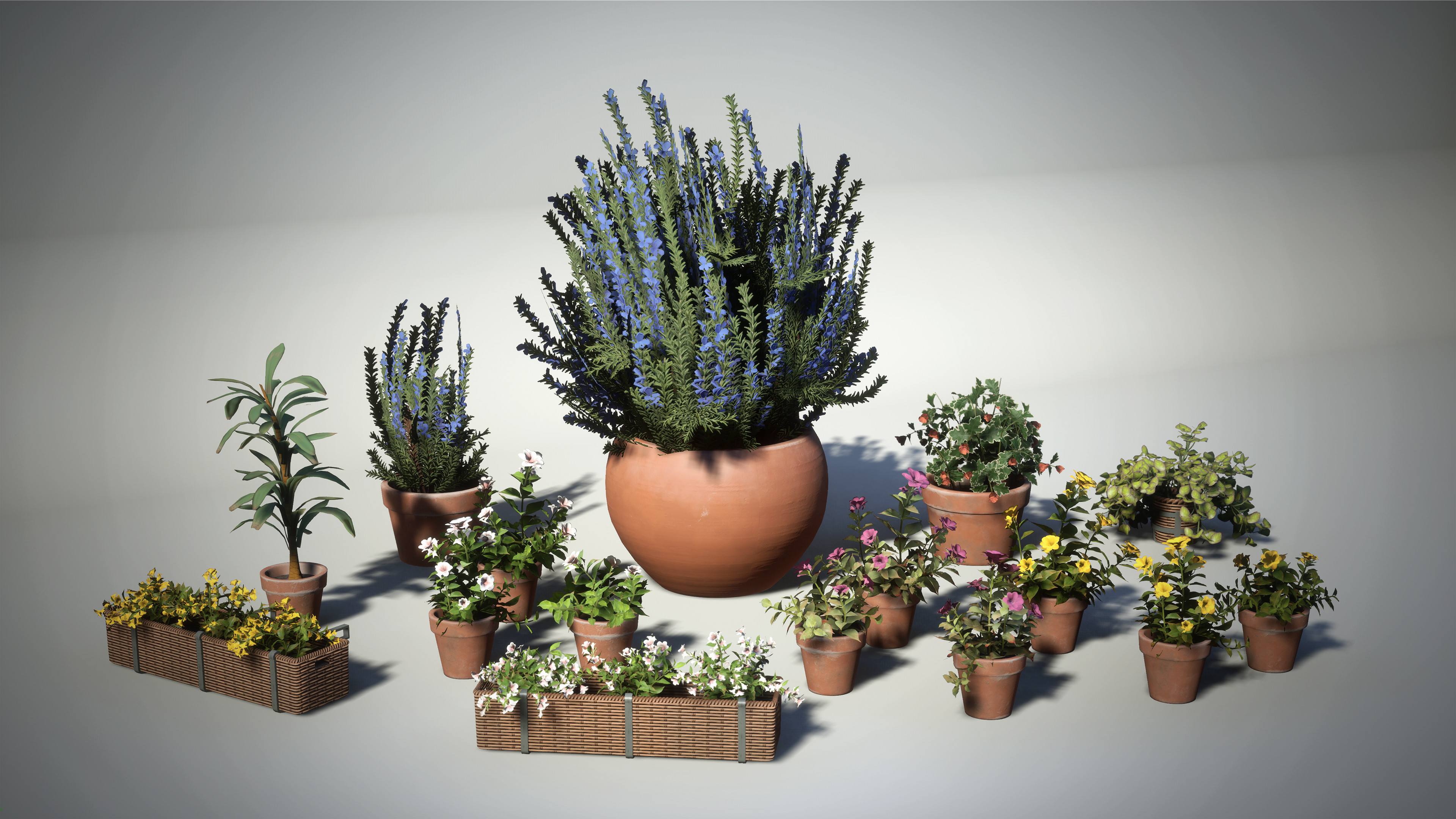 Plants were made with a mix of either SpeedTree, or Maya and Zbrush and then textured in Substance Painter.