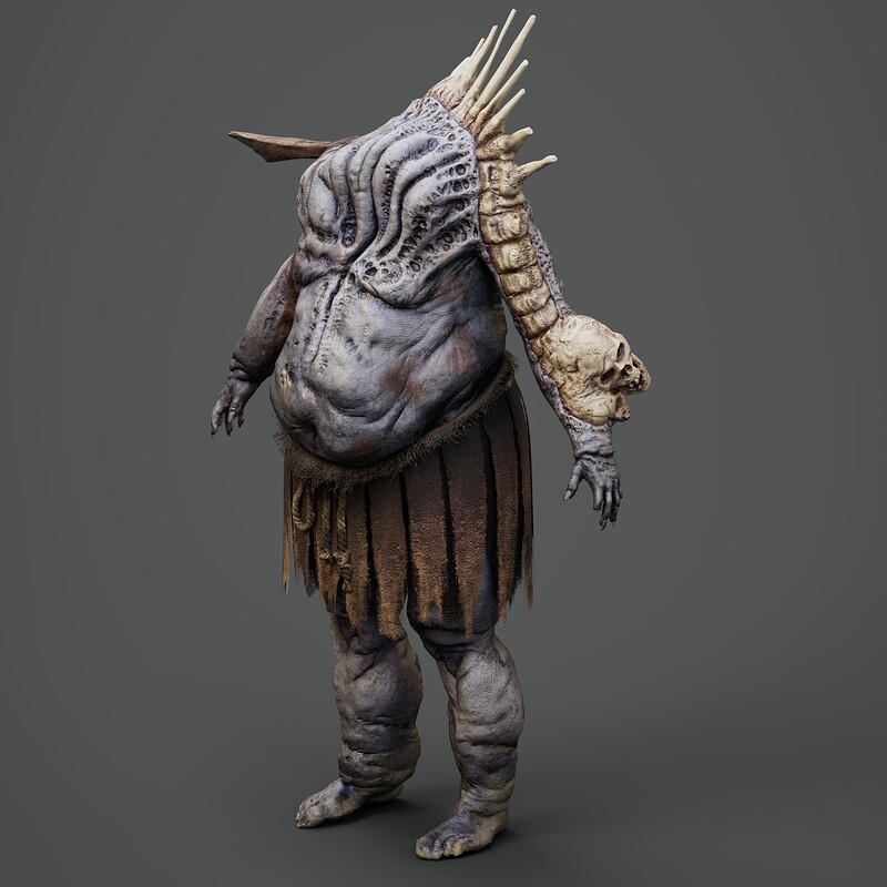 Warped Bloated Undead Warrior - Low Poly