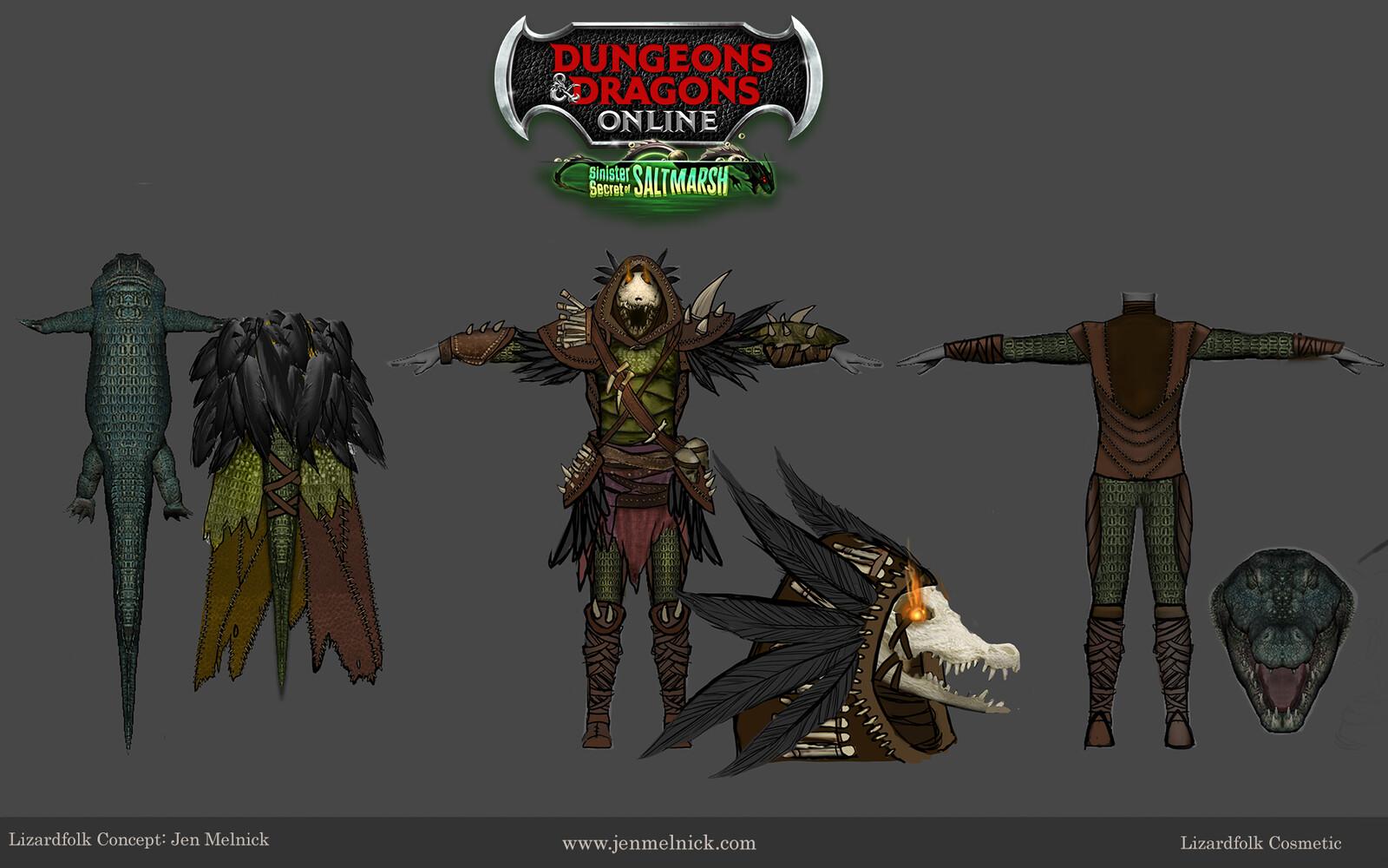 Dungeons and Dragons Online Lizardfolk Cosmetic Set: Jumpsuit, Cloak, Helmet, and Gearset Sinister Secrets of Saltmarsh Mini-Expansion  Ultimate Fan Bundle Reward Concept