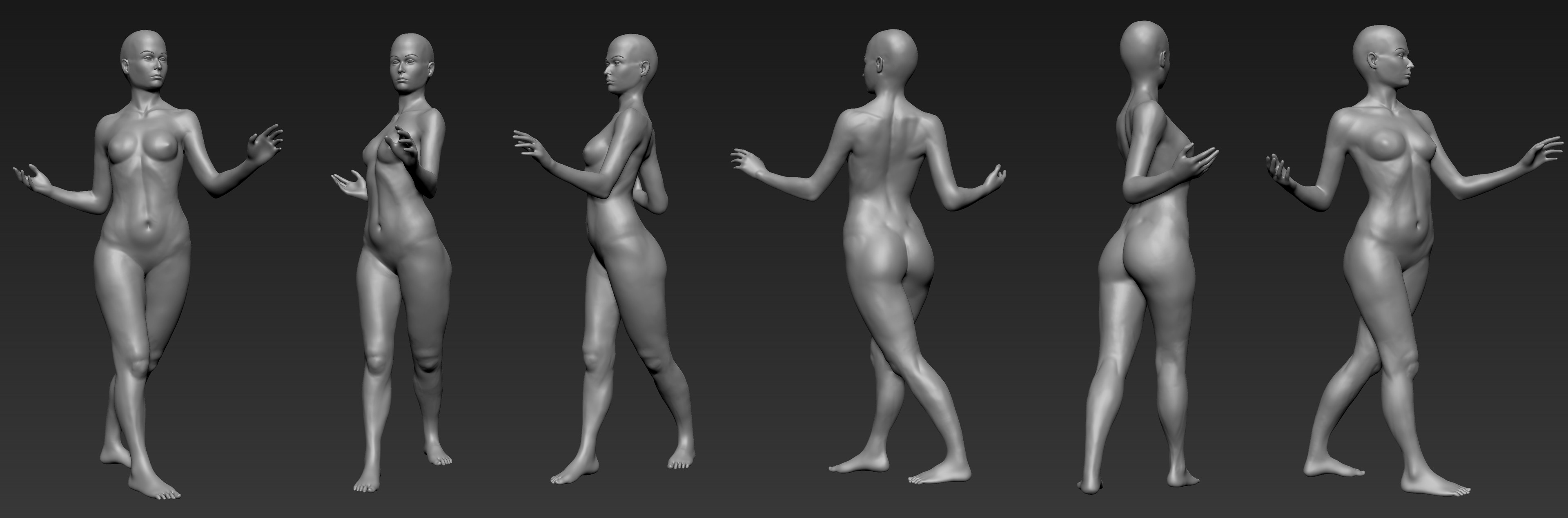Female figure anatomy practice. Started from a sphere.