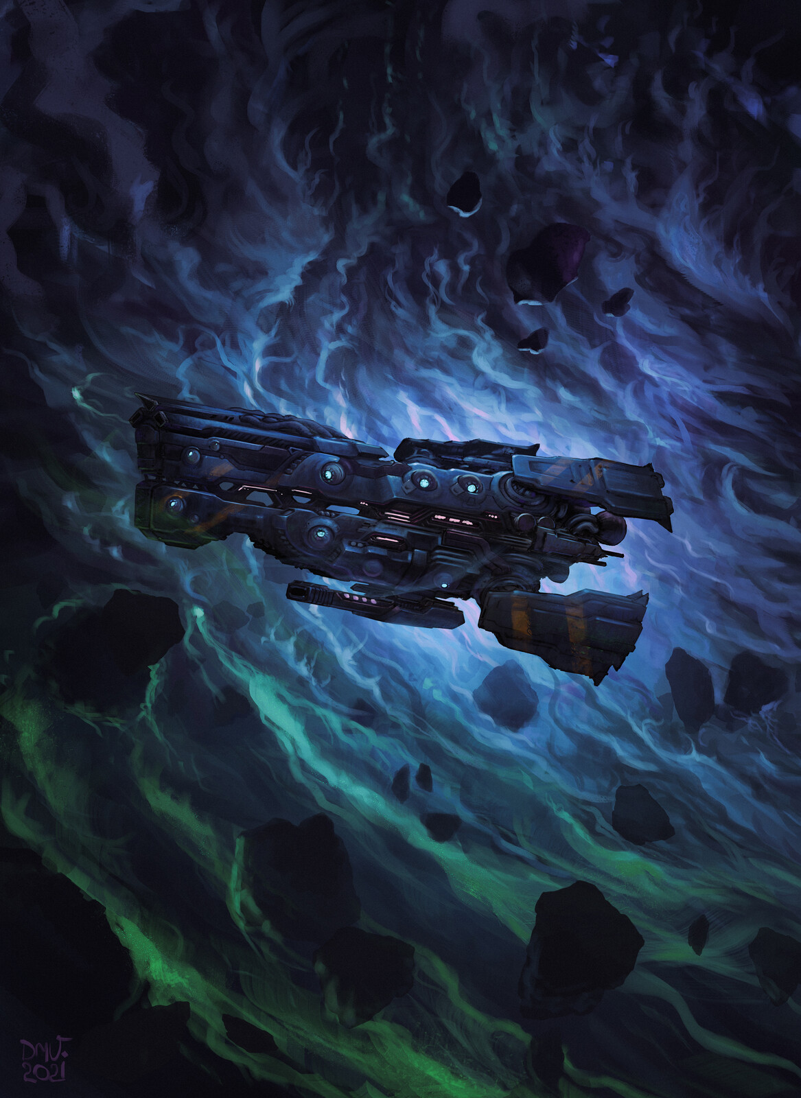 Defensive starship