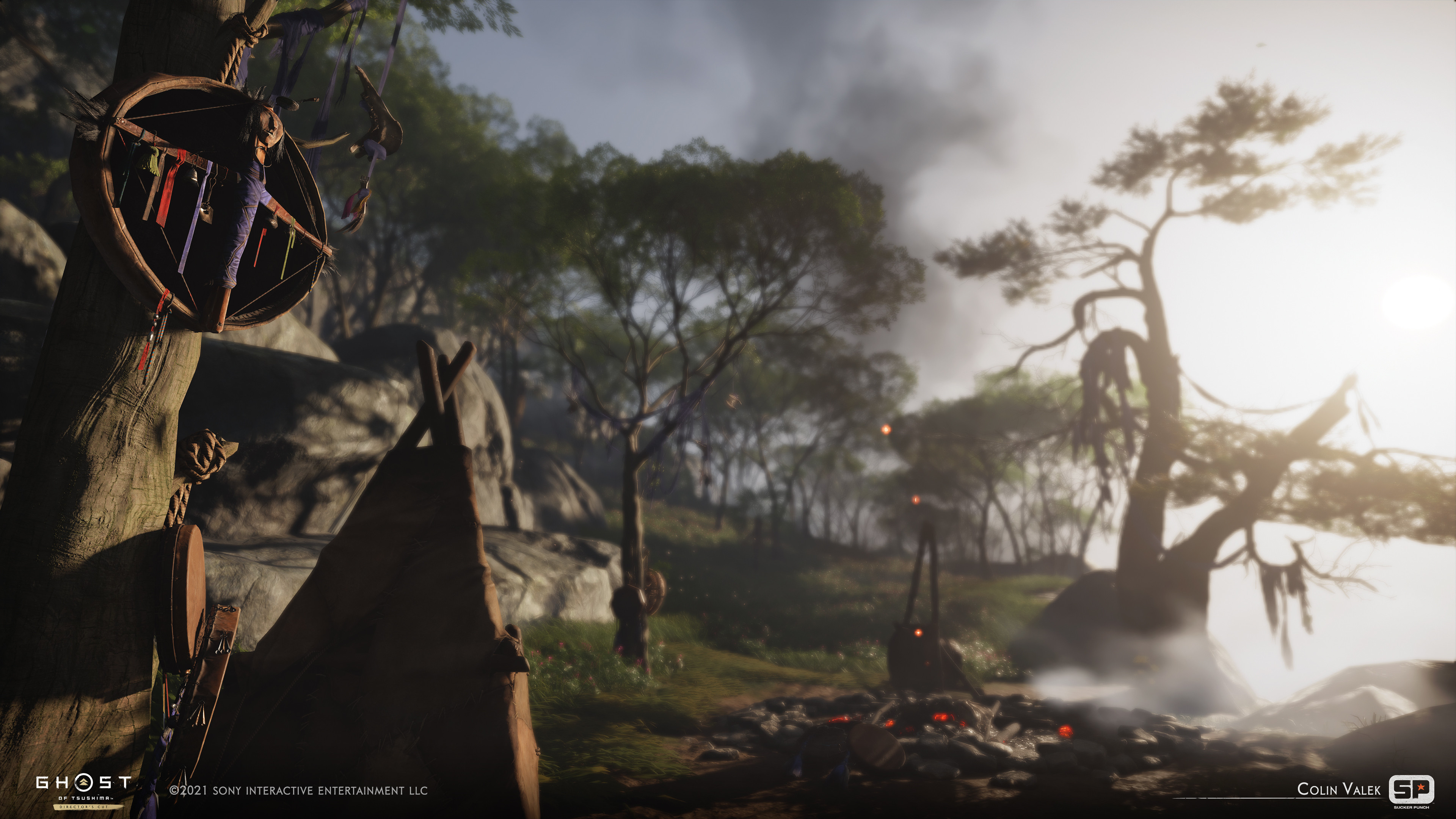 Environment/Prop set dressing, hanging shaman cloth added to trees.